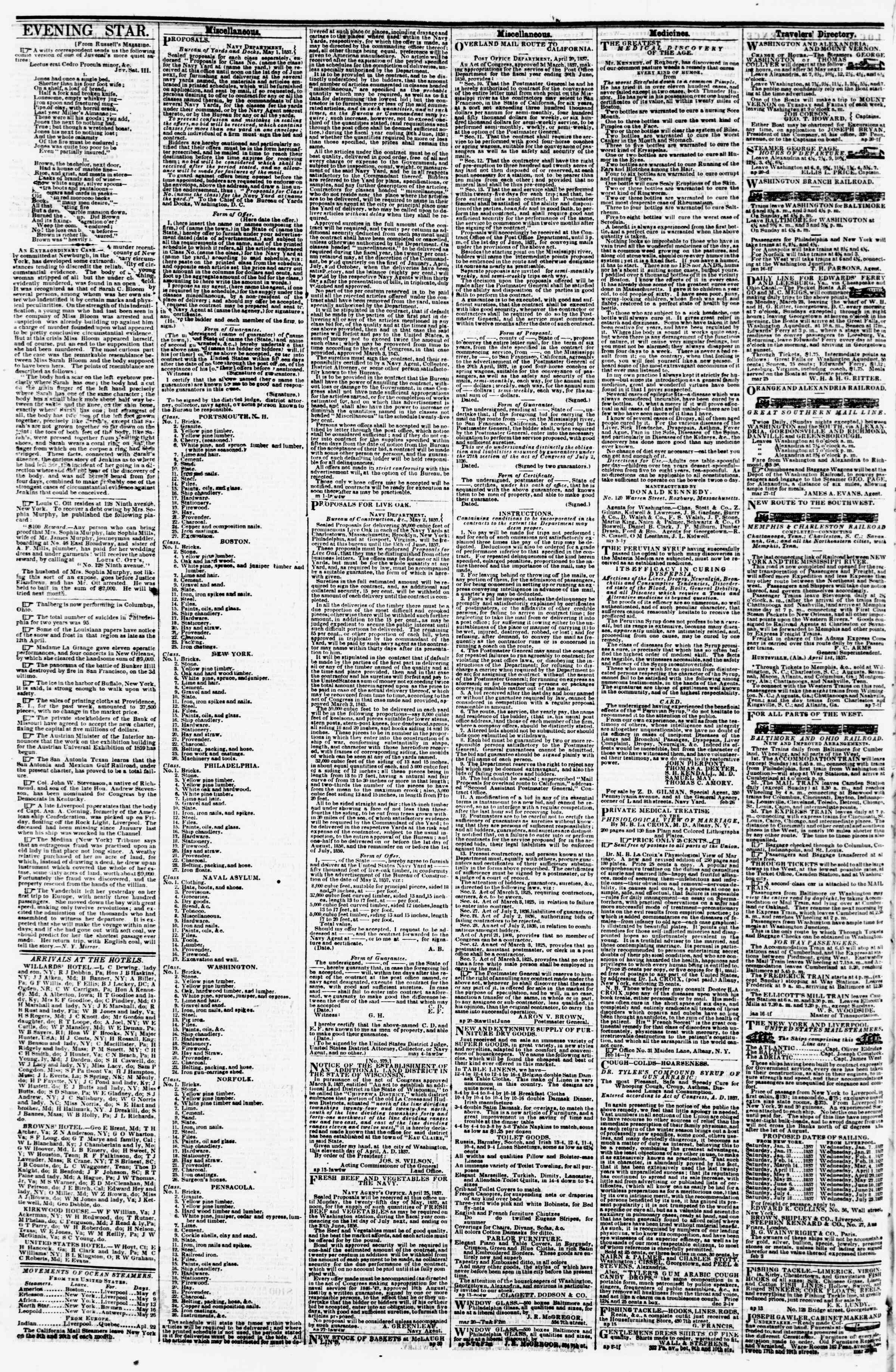 Newspaper of Evening Star dated May 8, 1857 Page 4