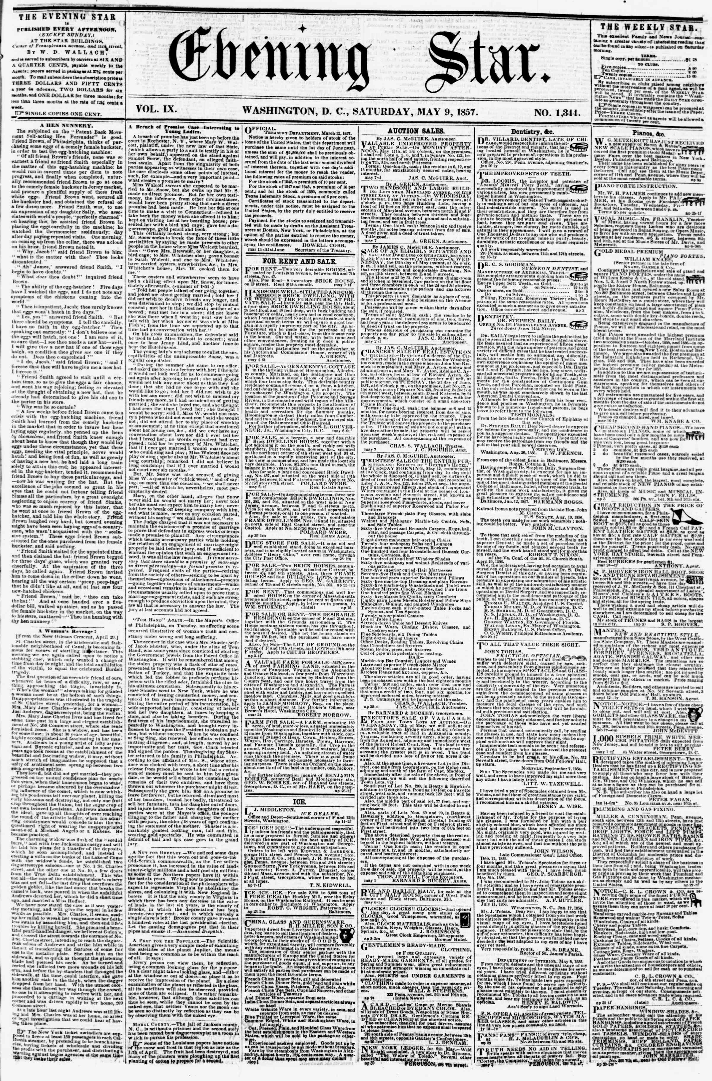 Newspaper of Evening Star dated May 9, 1857 Page 1