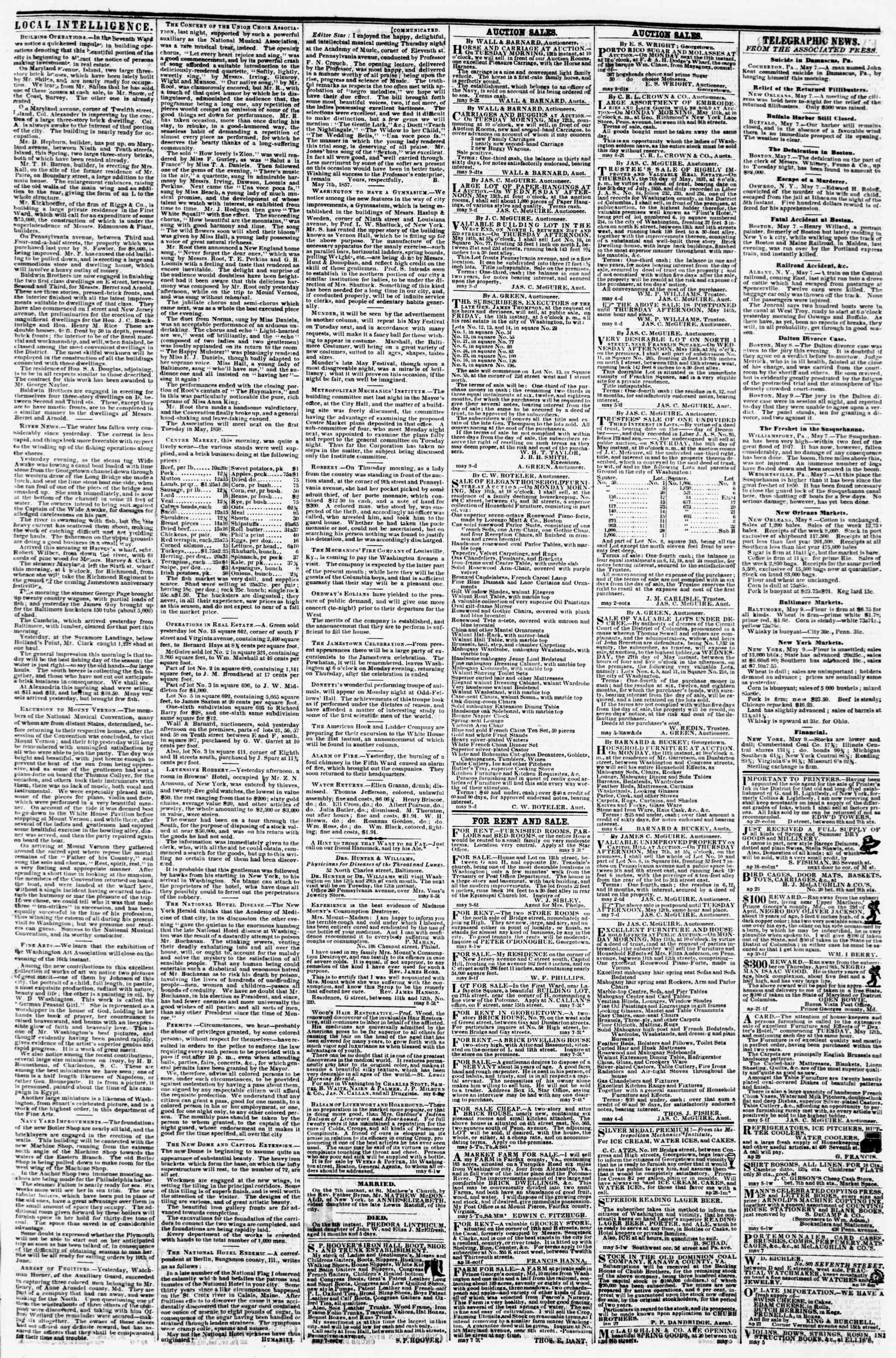 Newspaper of Evening Star dated May 9, 1857 Page 3