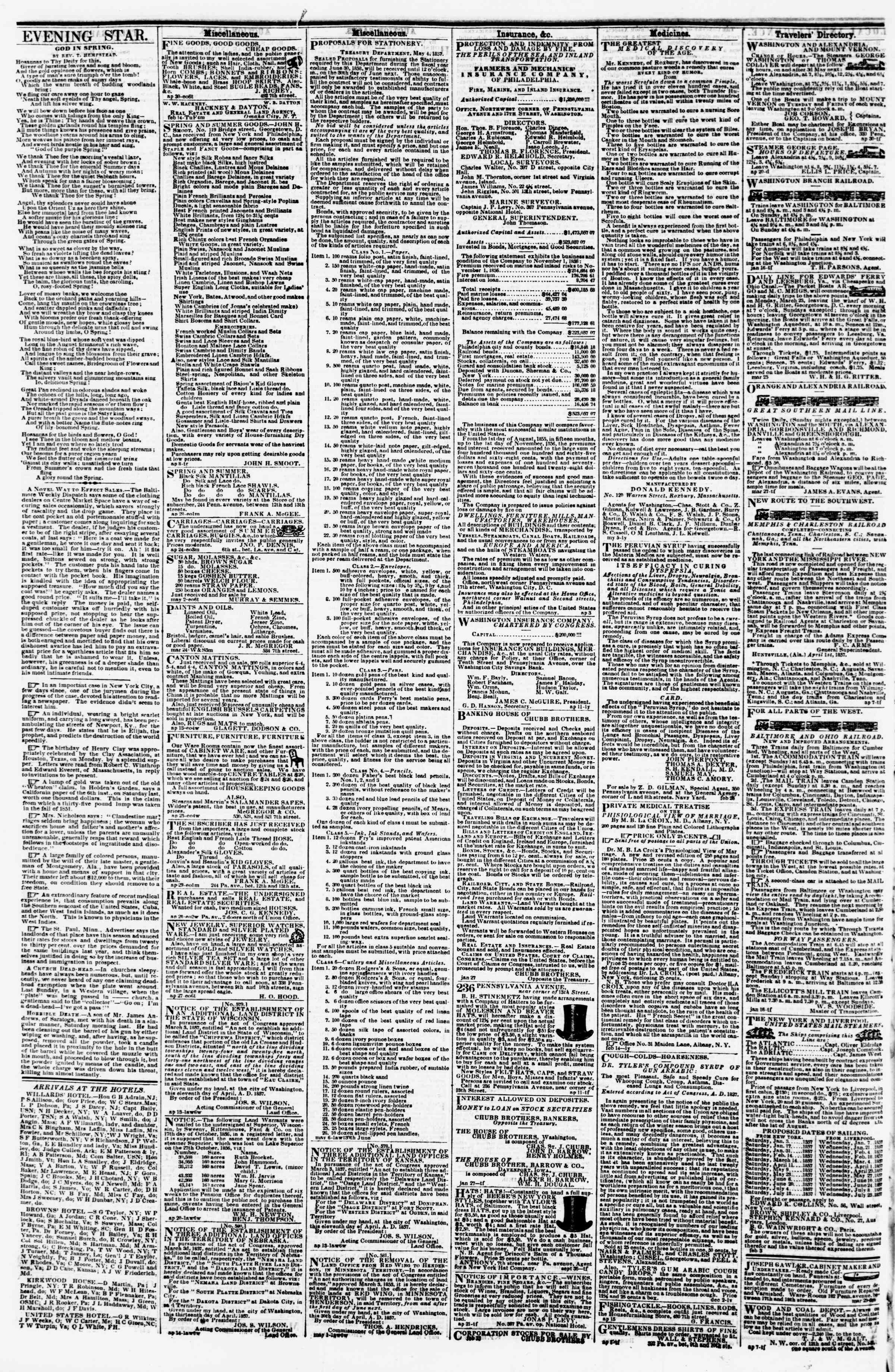 Newspaper of Evening Star dated May 9, 1857 Page 4