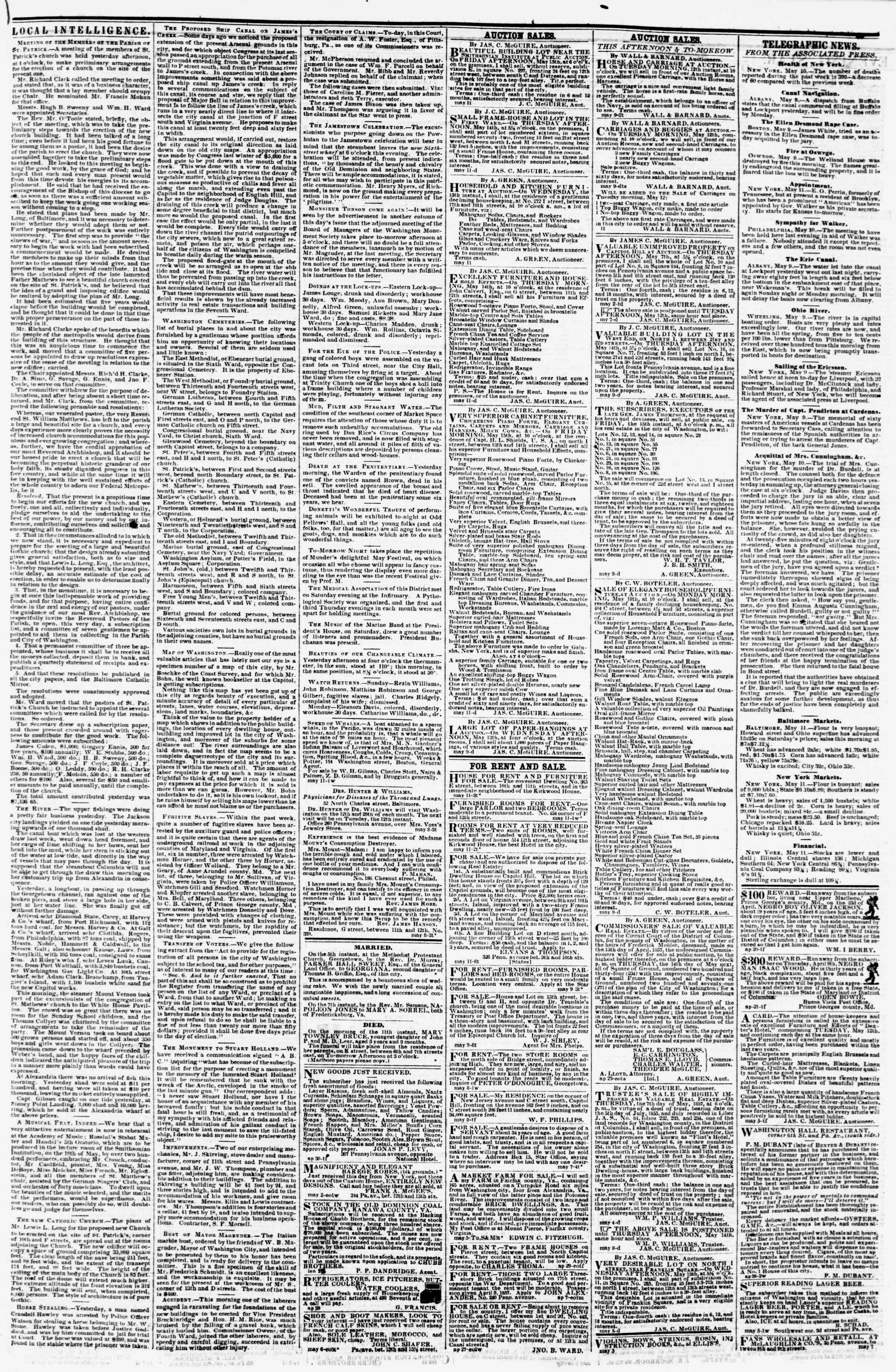 Newspaper of Evening Star dated May 11, 1857 Page 3