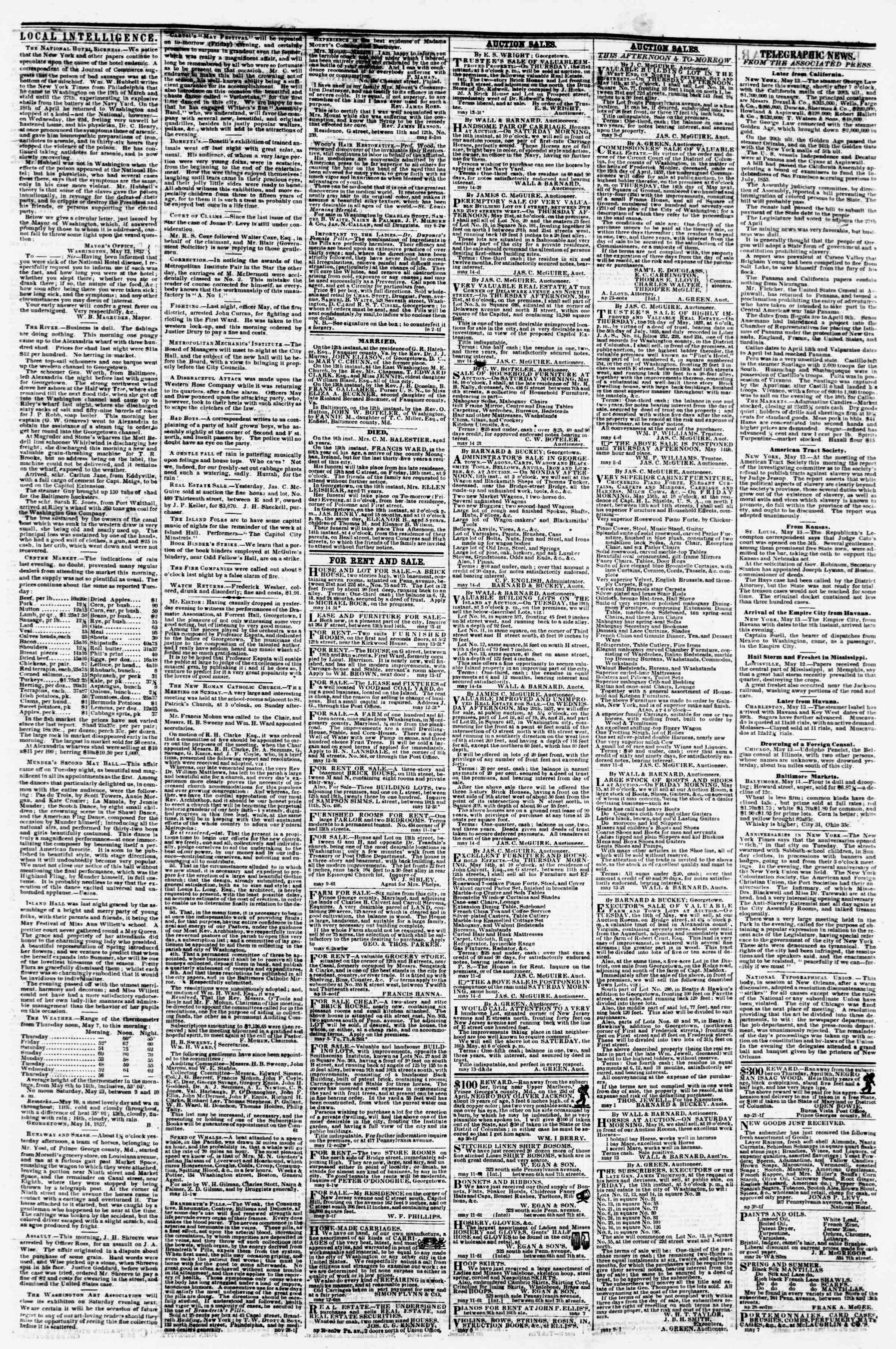Newspaper of Evening Star dated May 14, 1857 Page 3