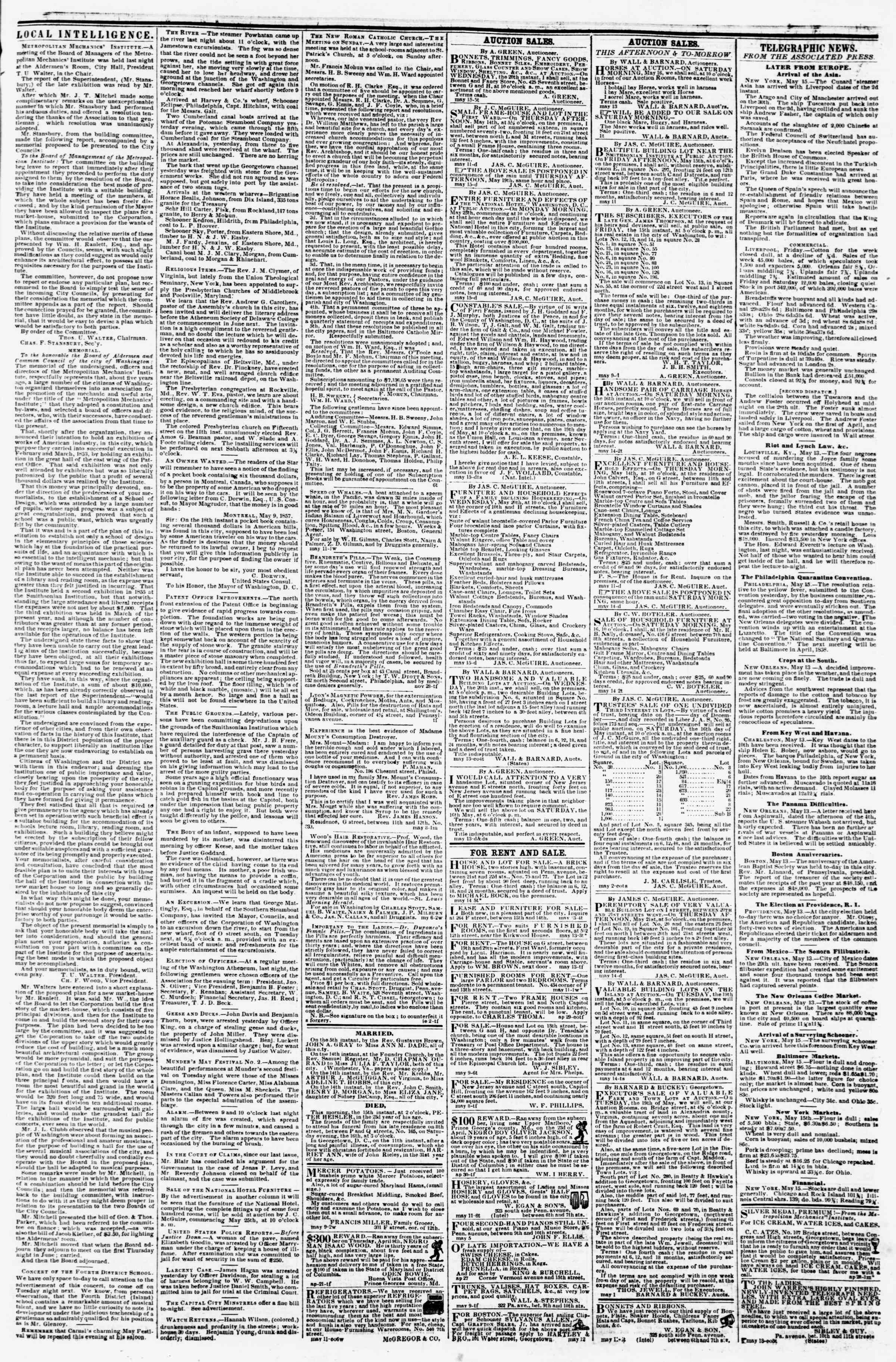 Newspaper of Evening Star dated May 15, 1857 Page 3