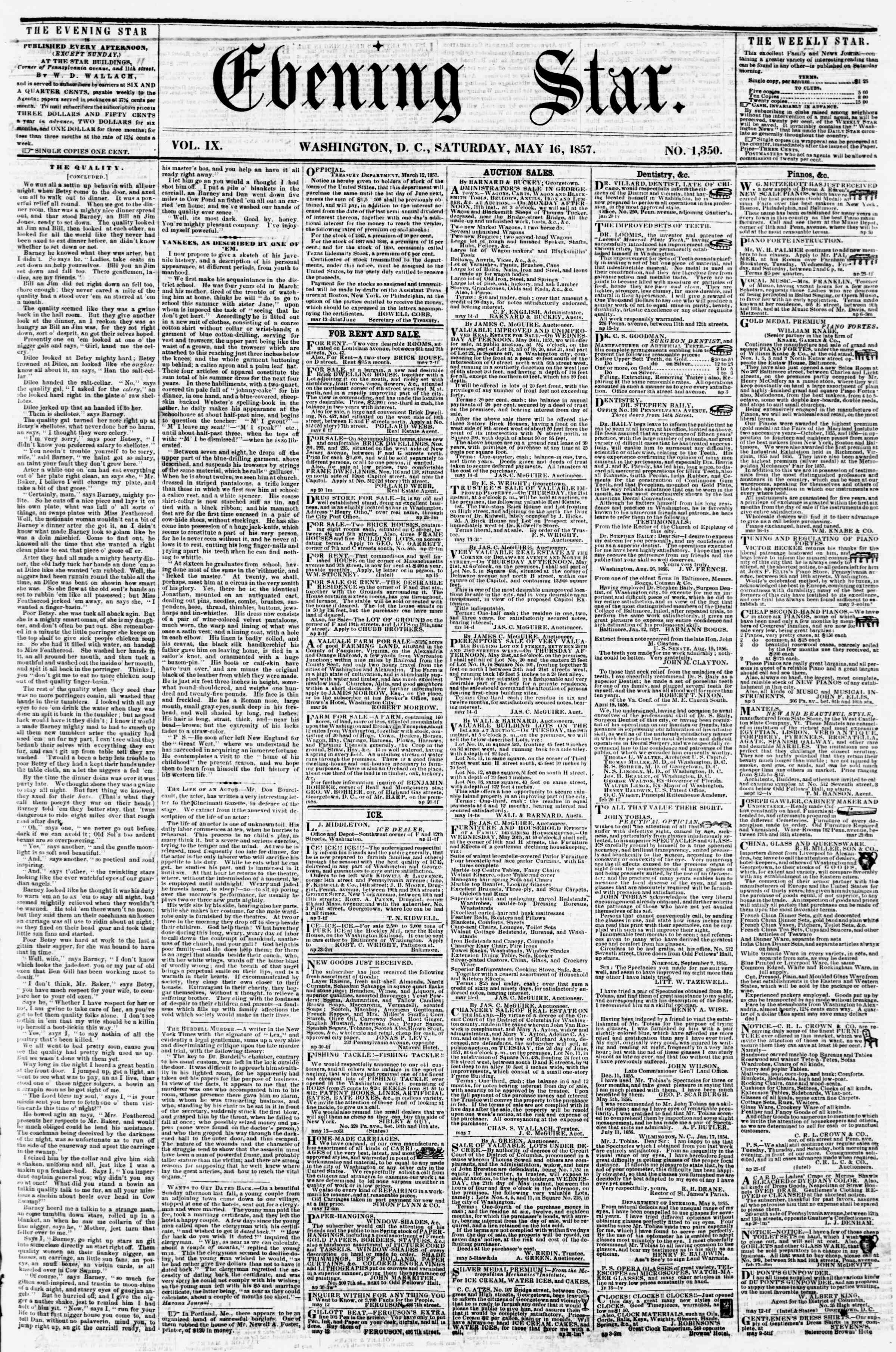 Newspaper of Evening Star dated May 16, 1857 Page 1
