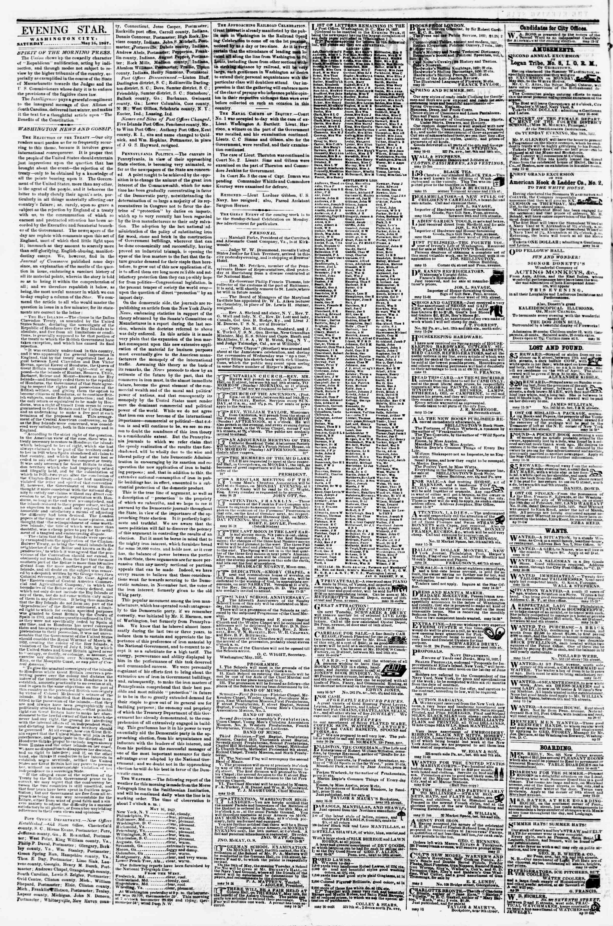Newspaper of Evening Star dated May 16, 1857 Page 2