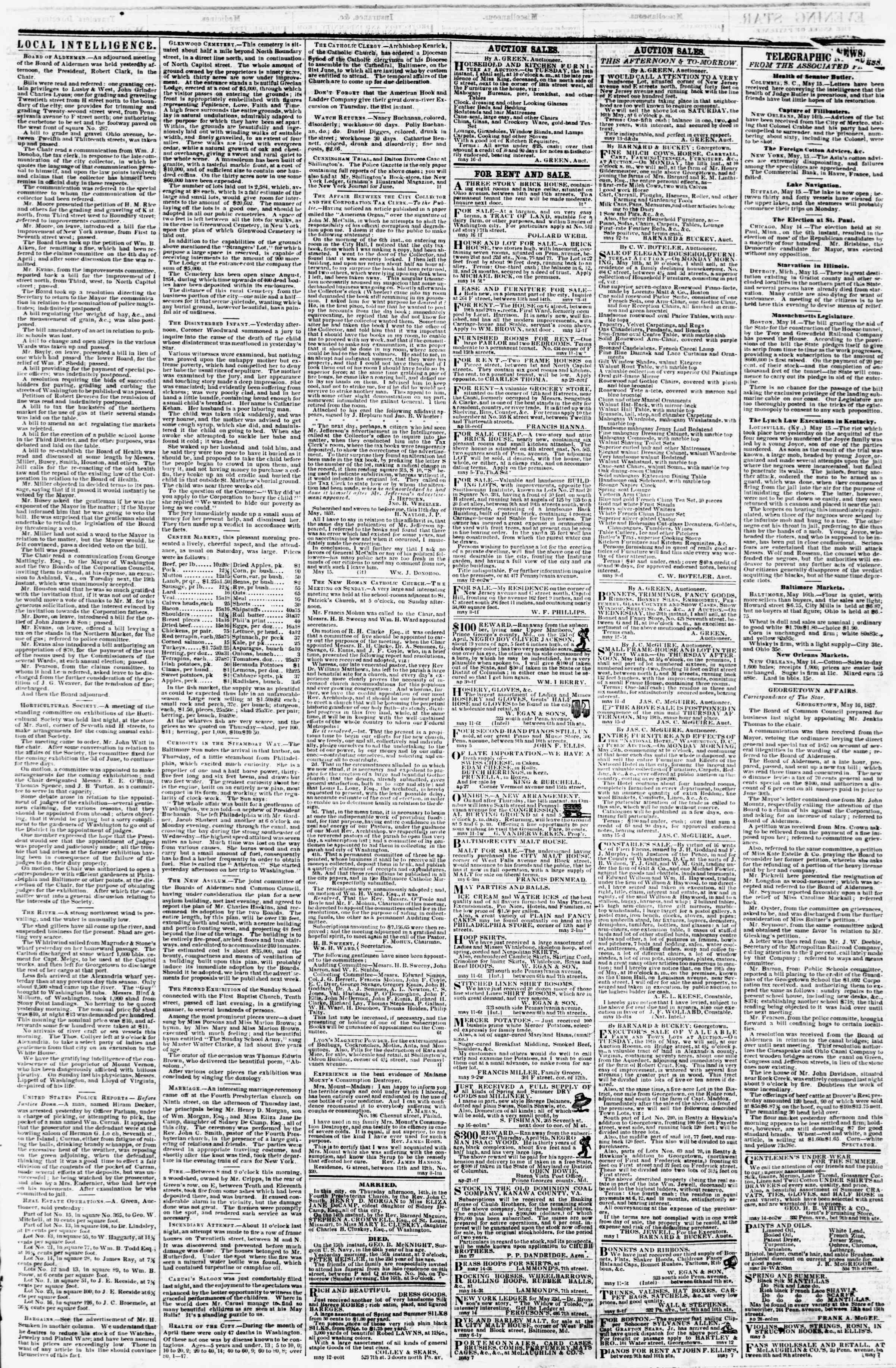 Newspaper of Evening Star dated May 16, 1857 Page 3