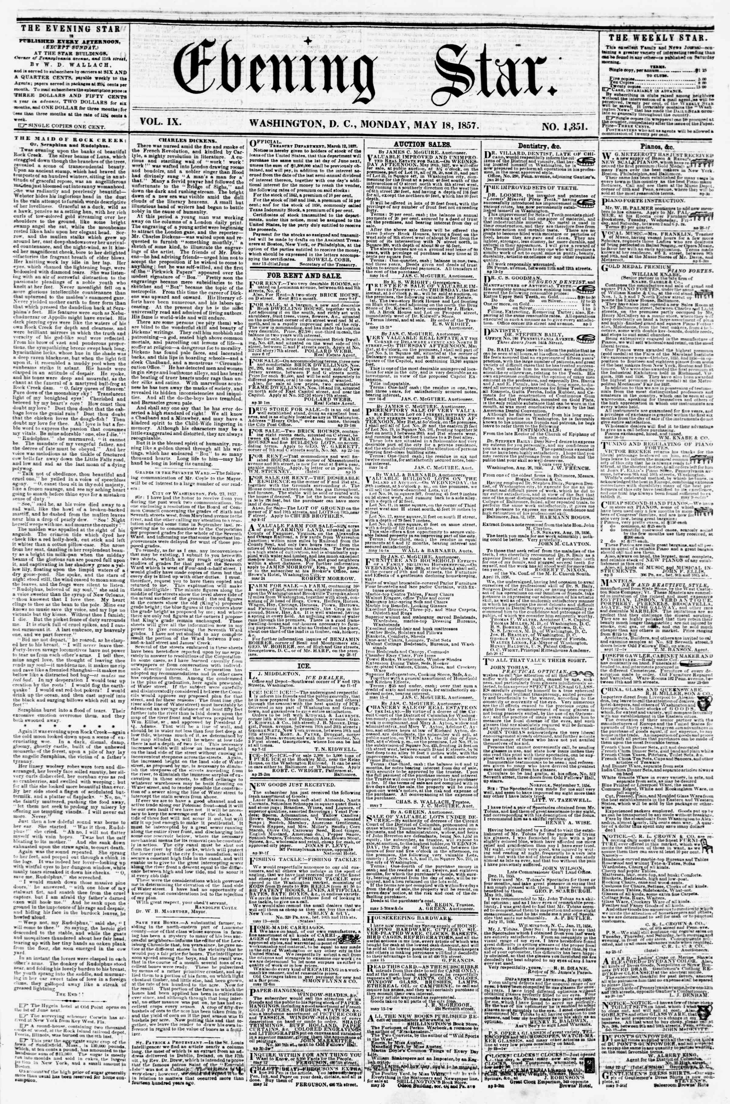 Newspaper of Evening Star dated May 18, 1857 Page 1