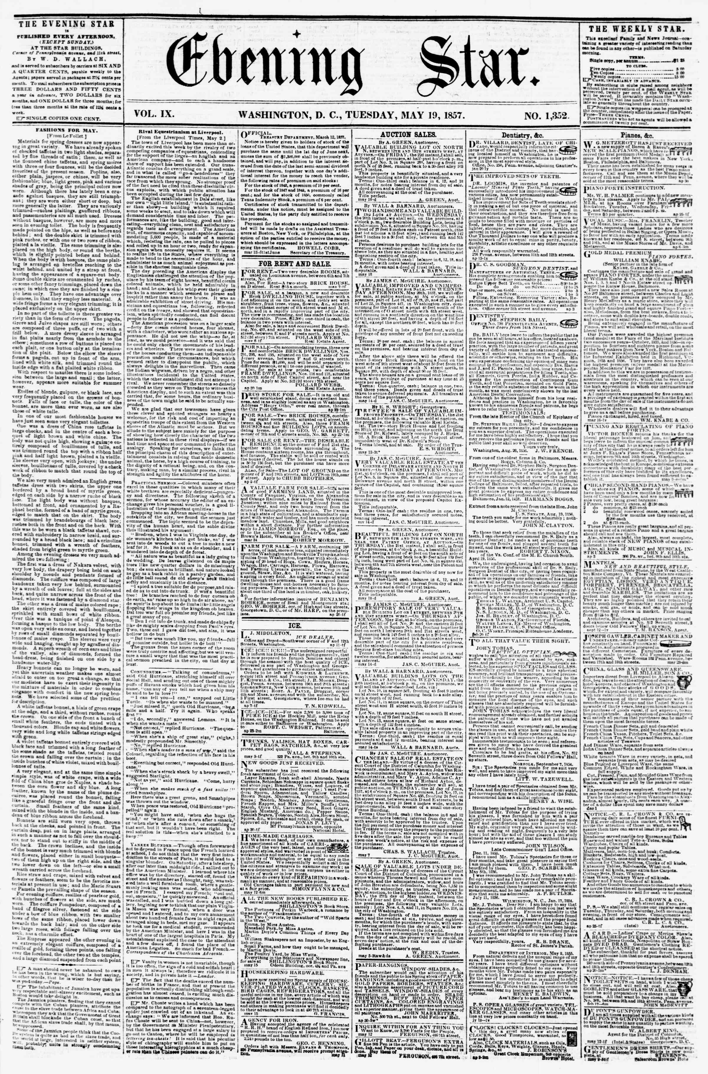 Newspaper of Evening Star dated May 19, 1857 Page 1