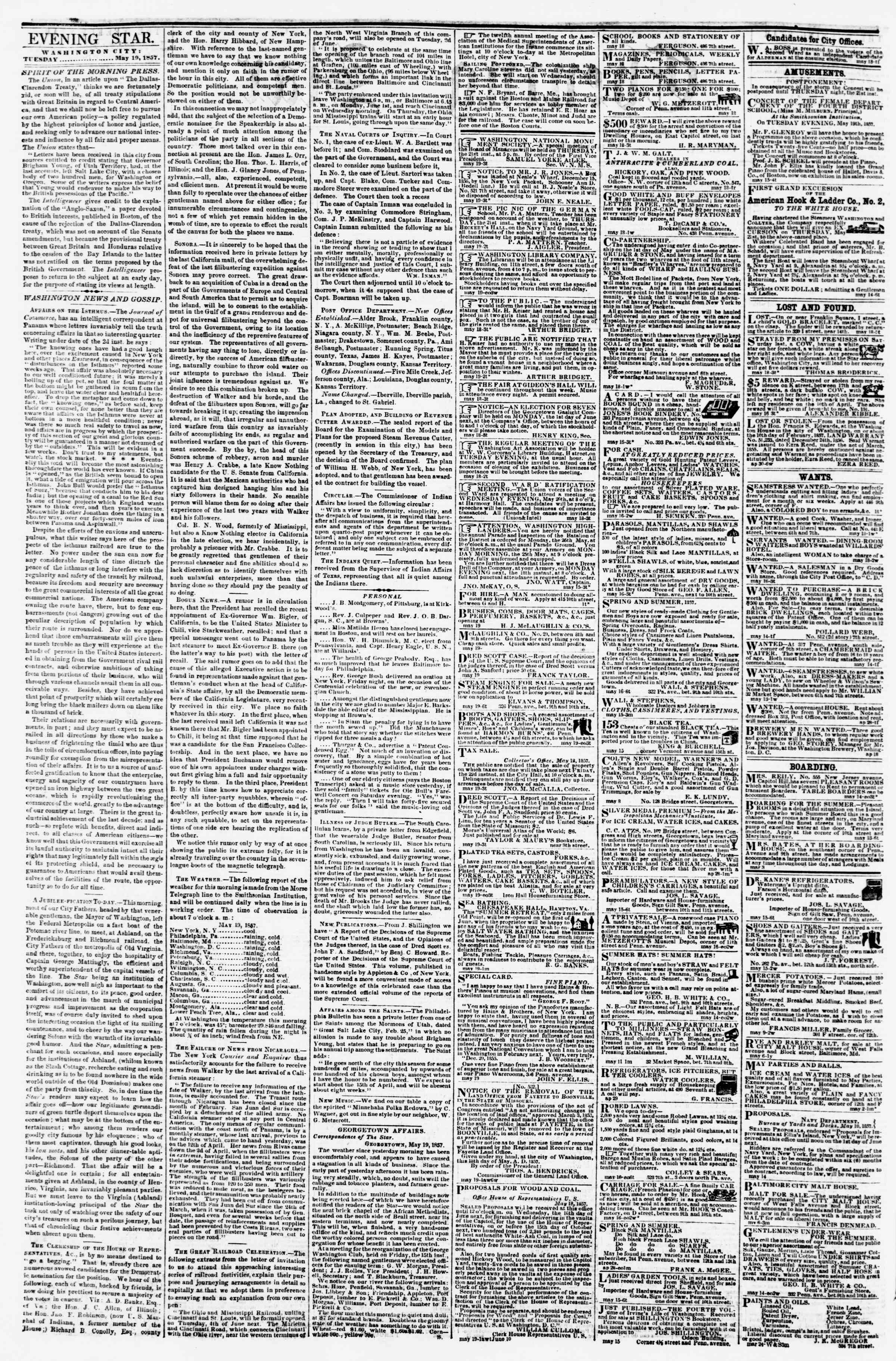 Newspaper of Evening Star dated May 19, 1857 Page 2