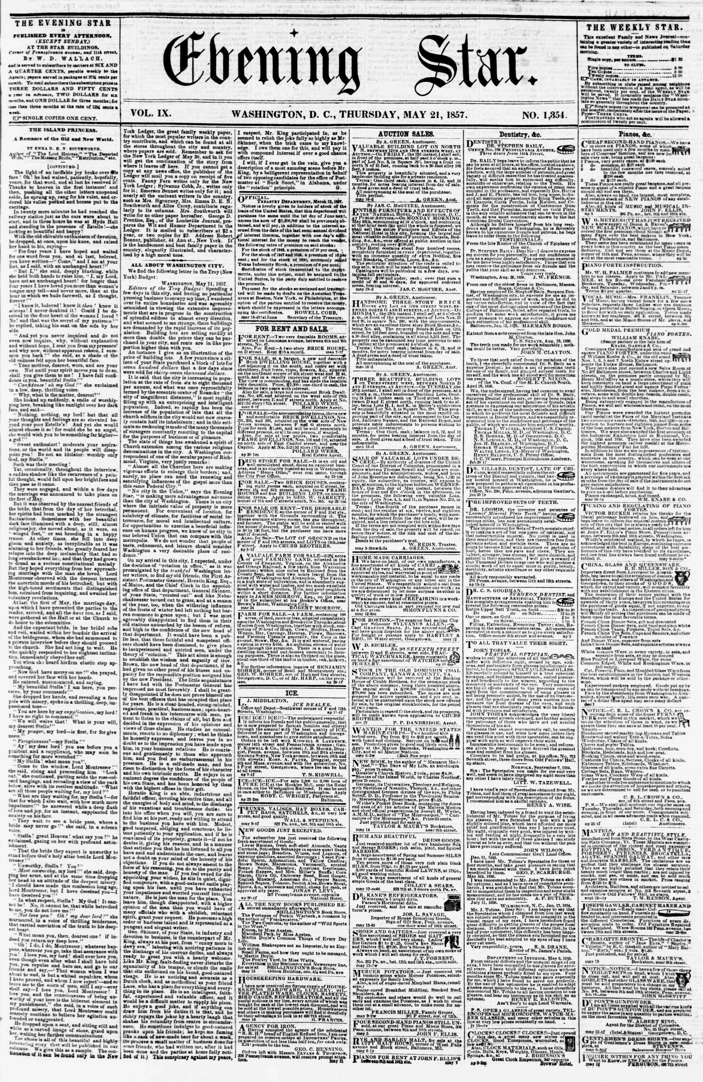 Newspaper of Evening Star dated May 21, 1857 Page 1