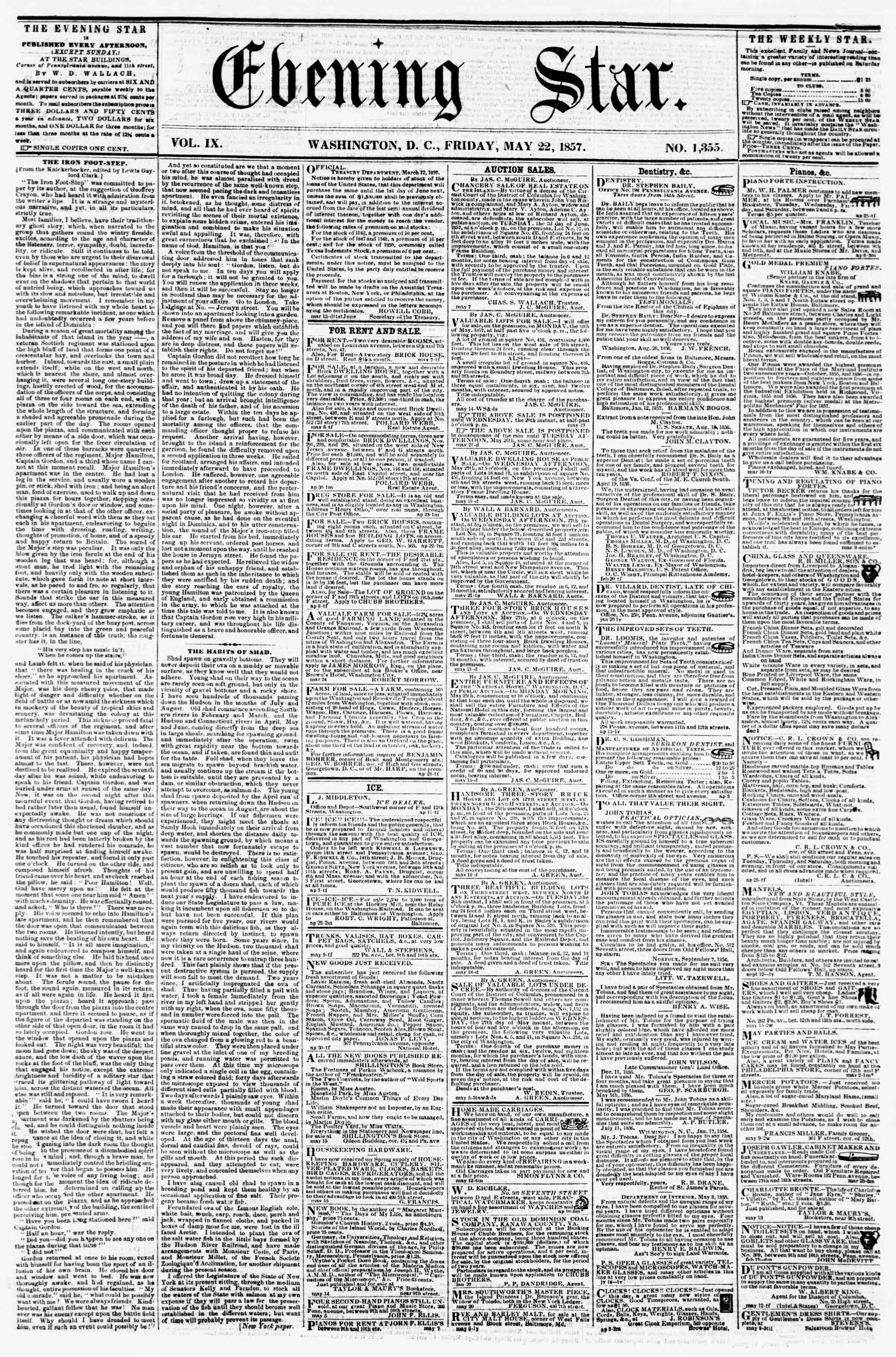 Newspaper of Evening Star dated May 22, 1857 Page 1