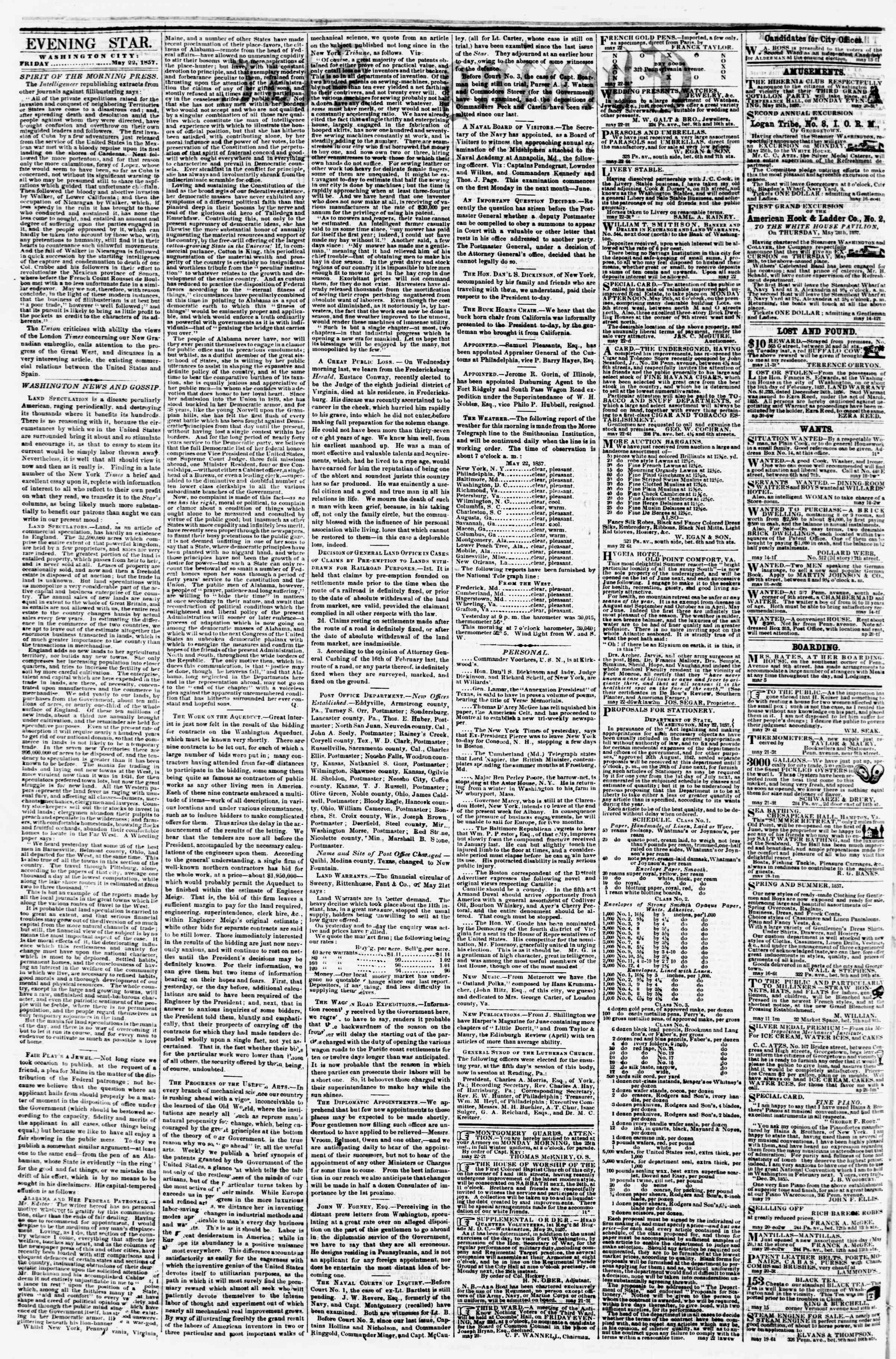 Newspaper of Evening Star dated May 22, 1857 Page 2