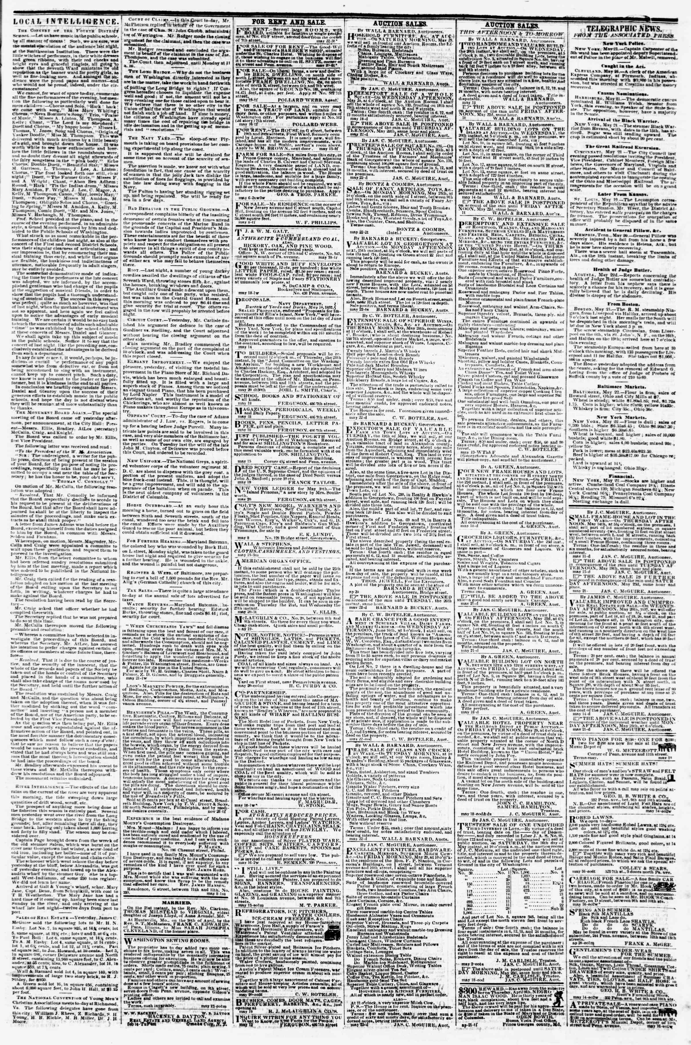 Newspaper of Evening Star dated May 22, 1857 Page 3
