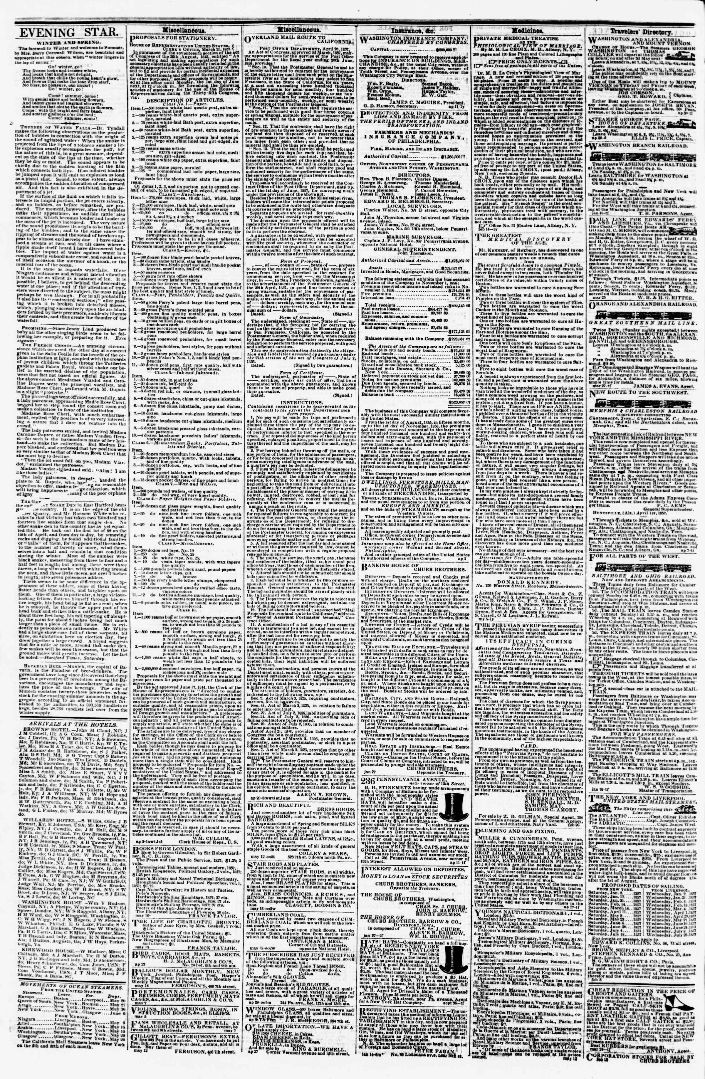 Newspaper of Evening Star dated May 22, 1857 Page 4