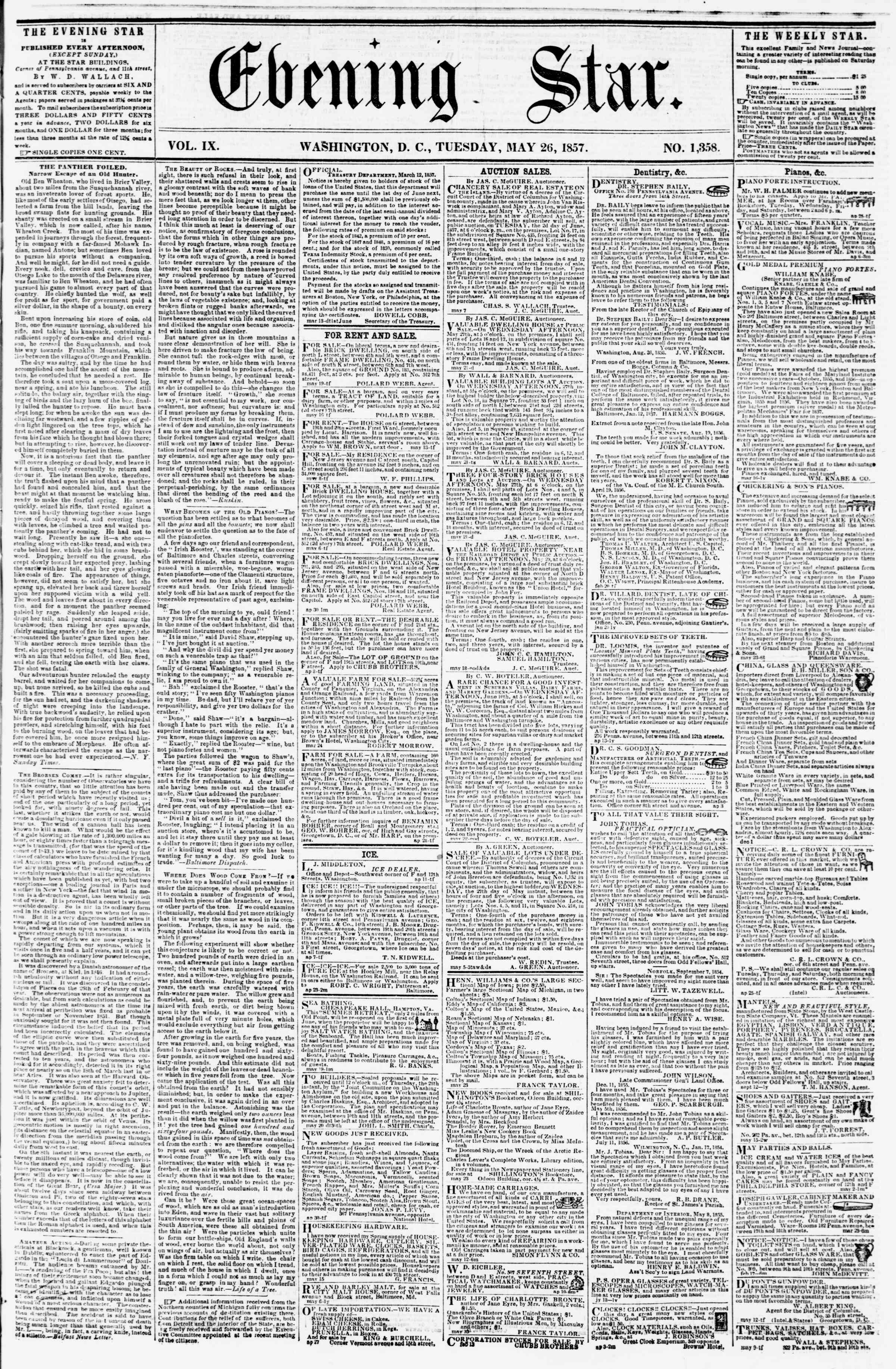 Newspaper of Evening Star dated May 26, 1857 Page 1