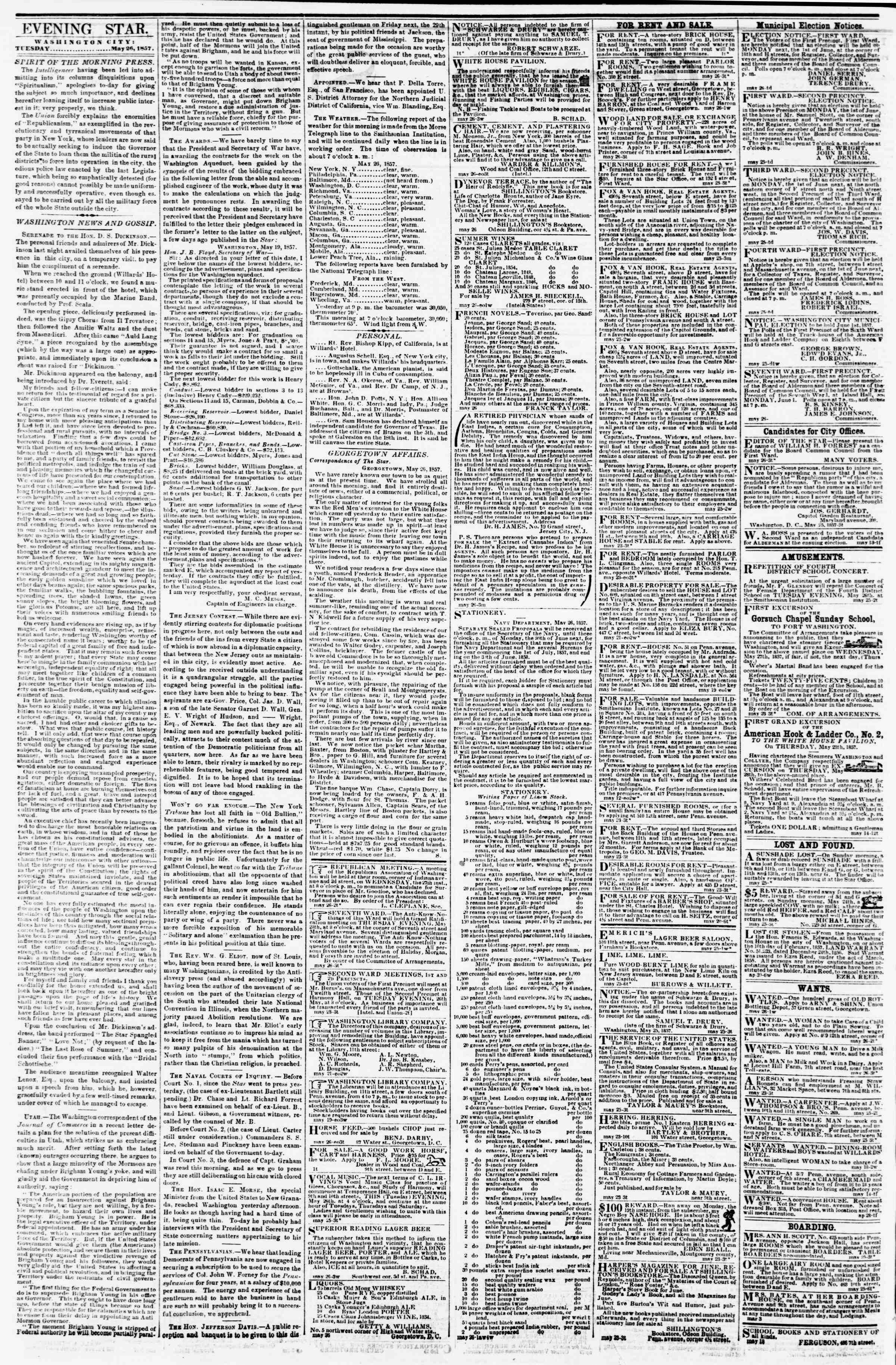 Newspaper of Evening Star dated May 26, 1857 Page 2