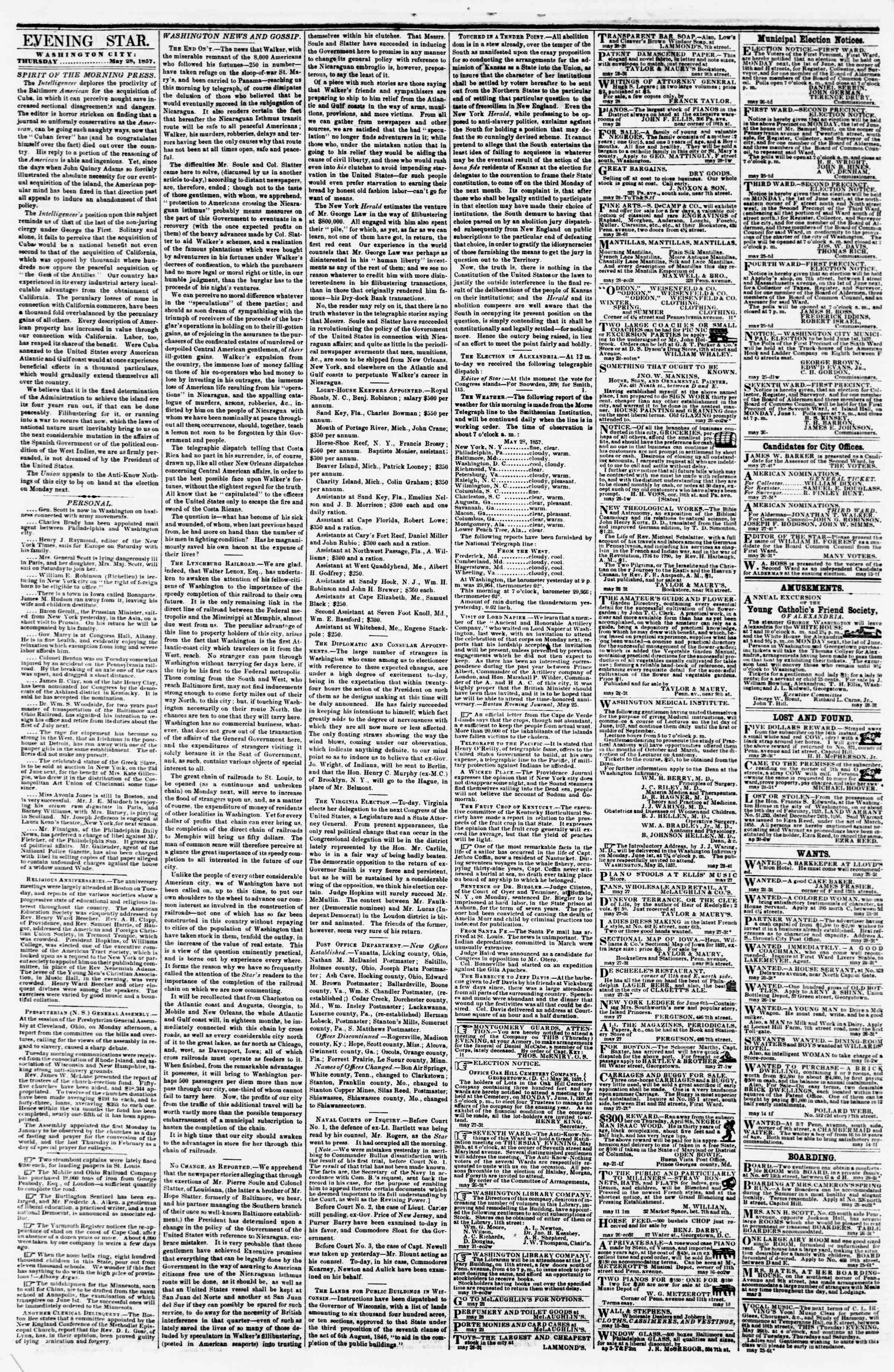 Newspaper of Evening Star dated May 28, 1857 Page 2