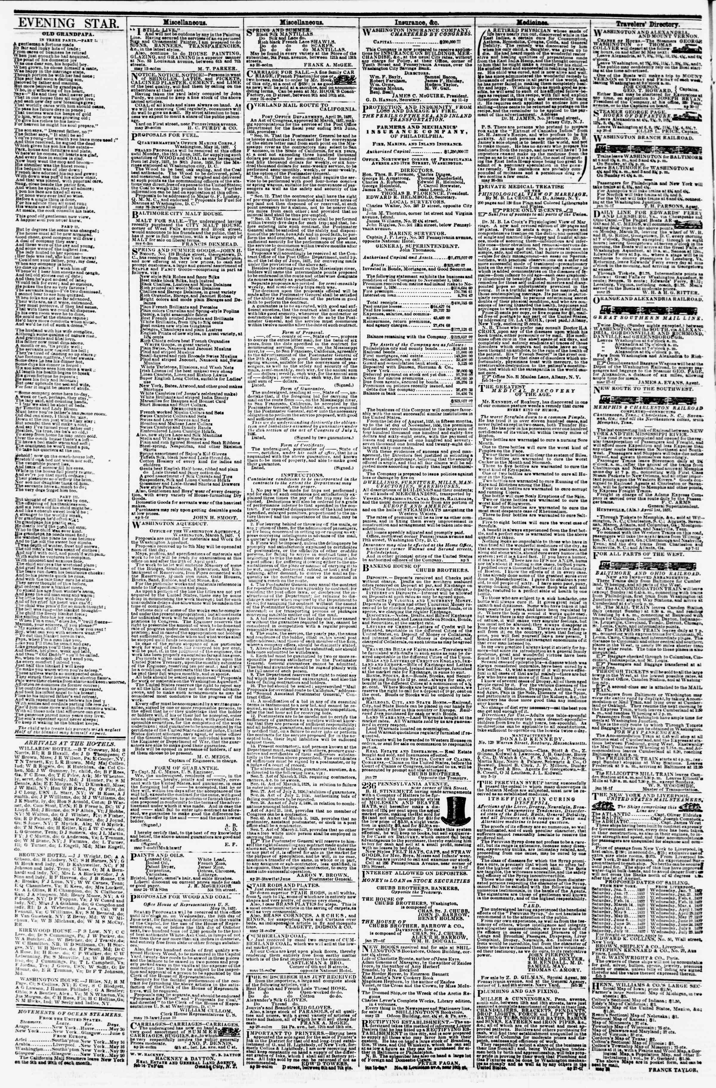 Newspaper of Evening Star dated May 28, 1857 Page 4