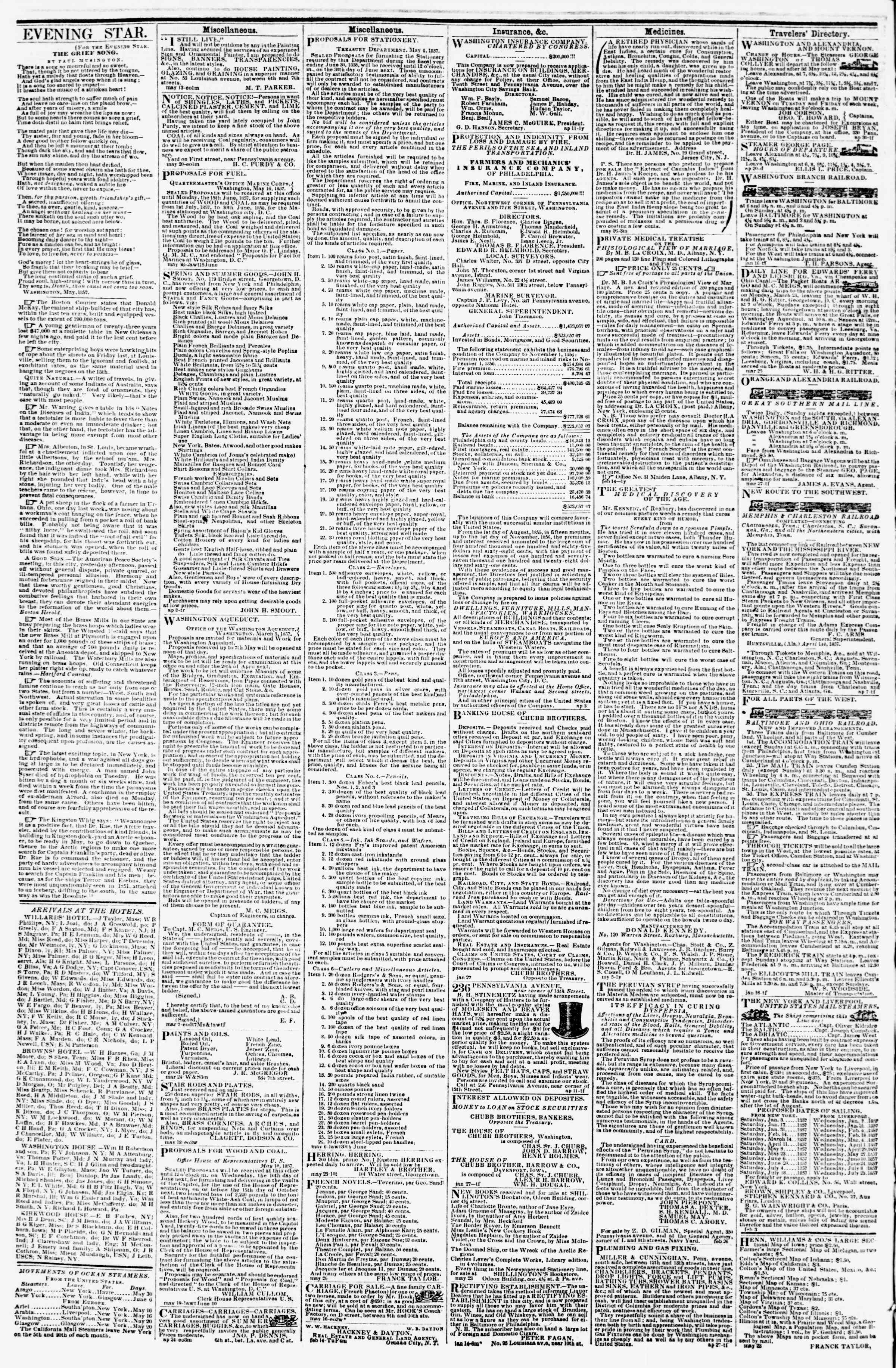 Newspaper of Evening Star dated May 29, 1857 Page 4