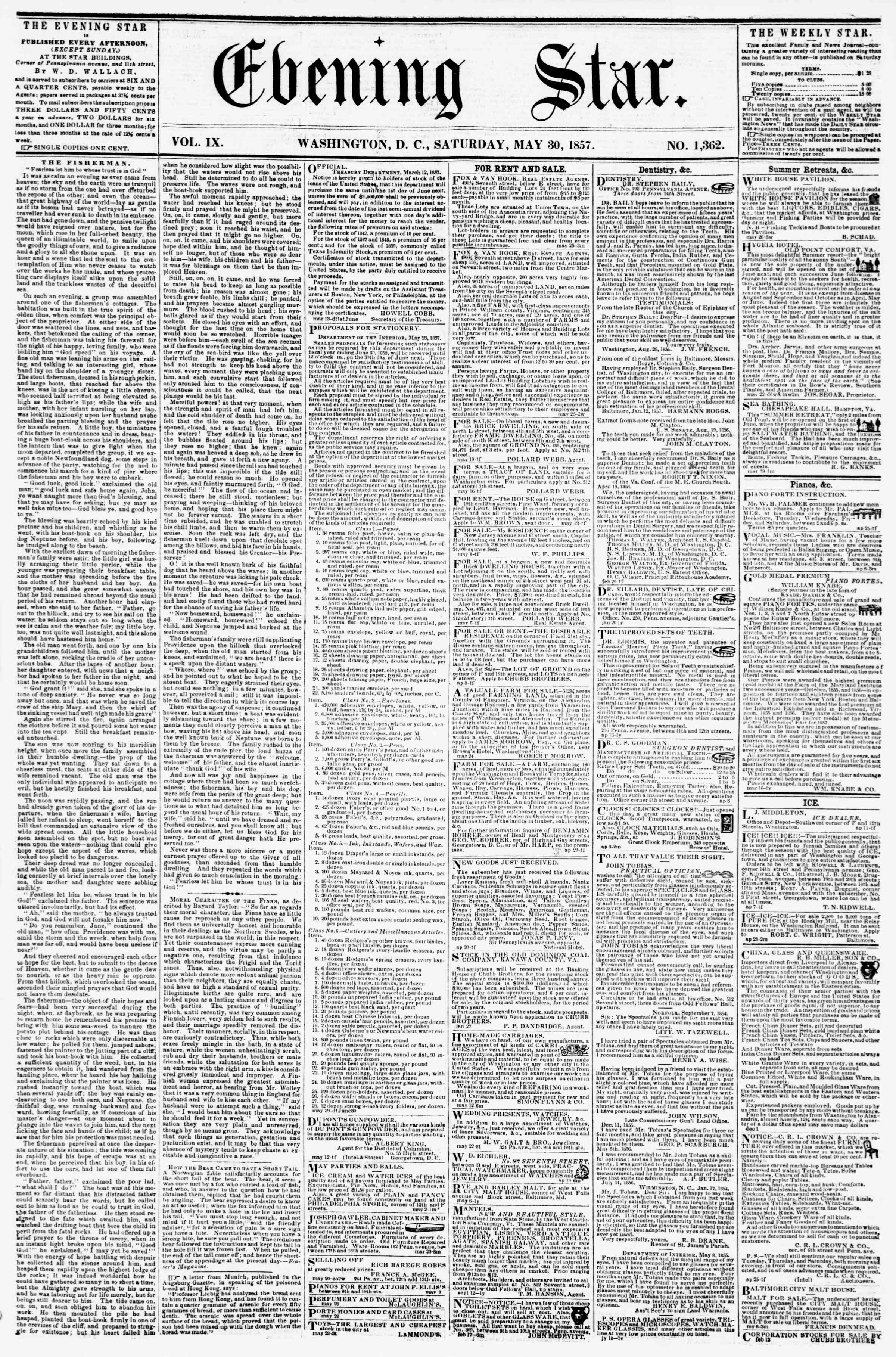 Newspaper of Evening Star dated May 30, 1857 Page 1