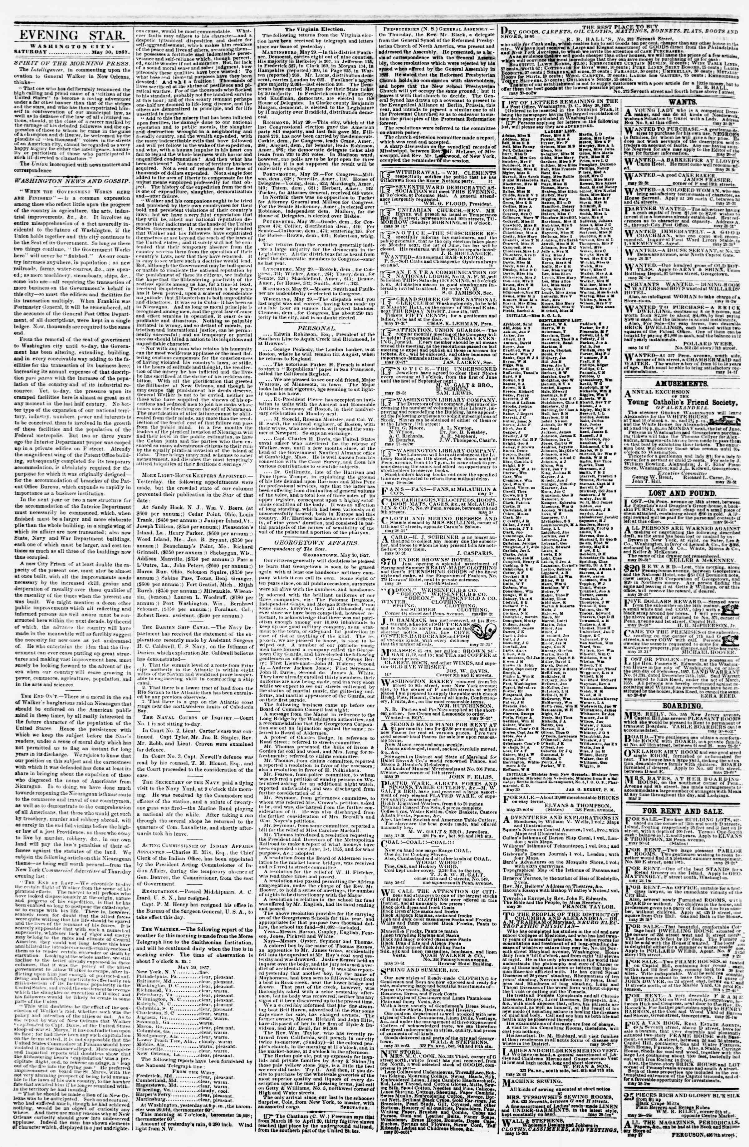 Newspaper of Evening Star dated May 30, 1857 Page 3