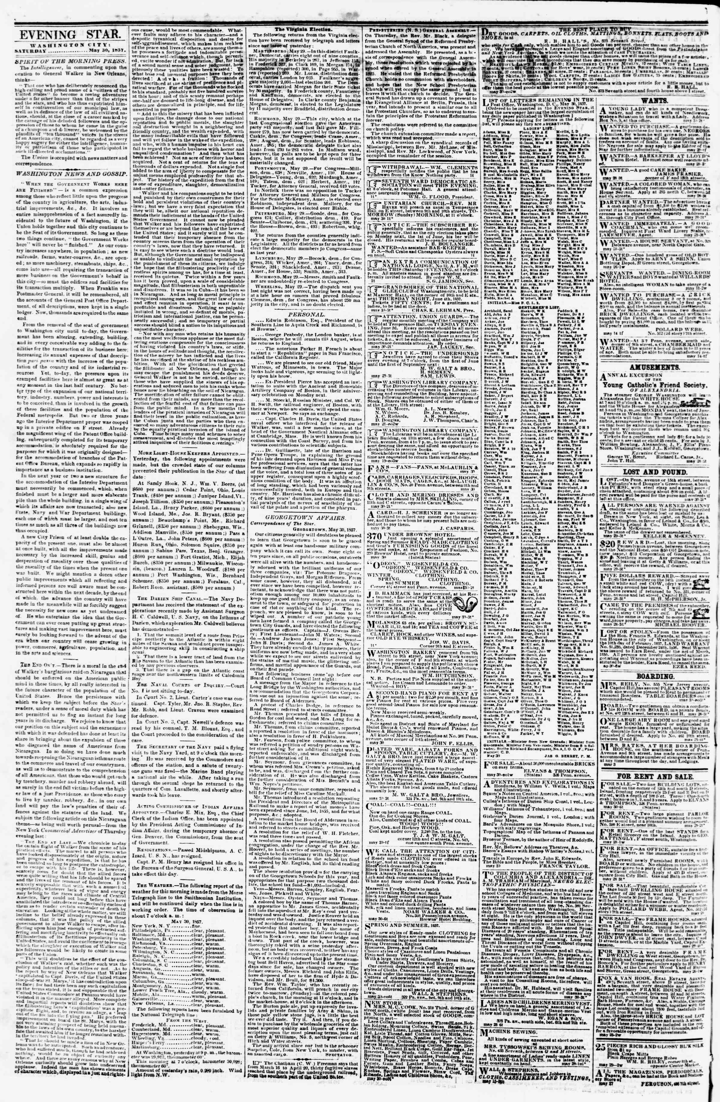 Newspaper of Evening Star dated May 30, 1857 Page 4