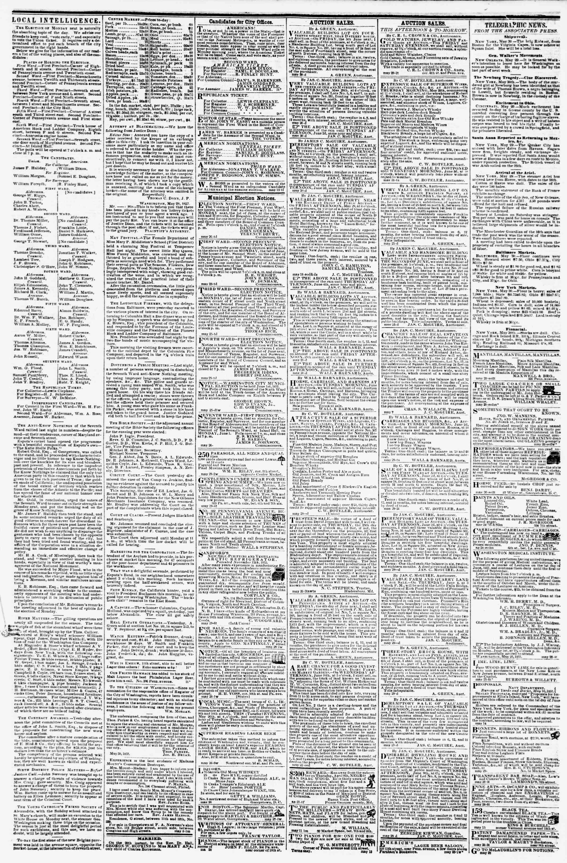 Newspaper of Evening Star dated May 30, 1857 Page 5
