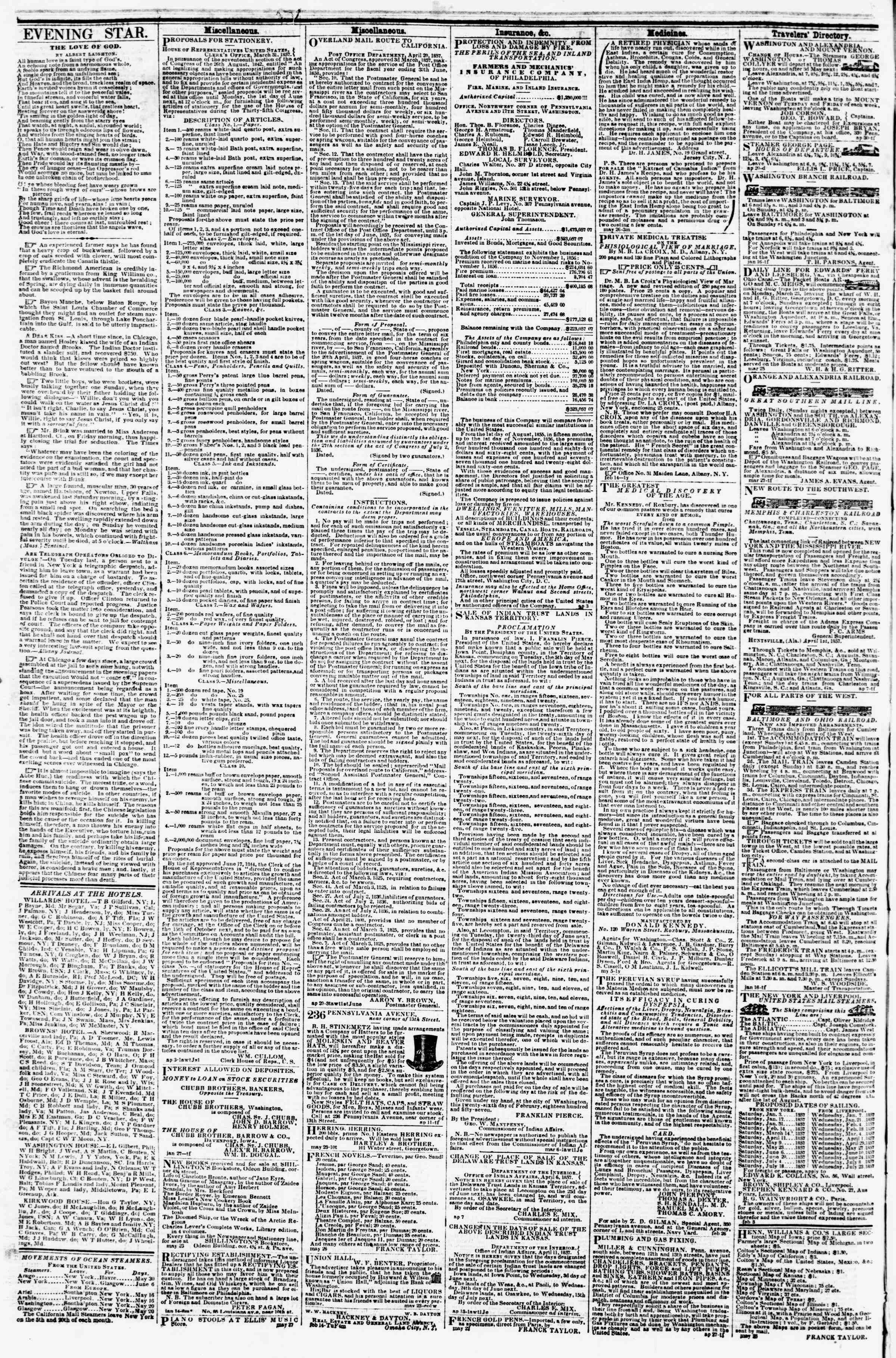 Newspaper of Evening Star dated May 30, 1857 Page 8