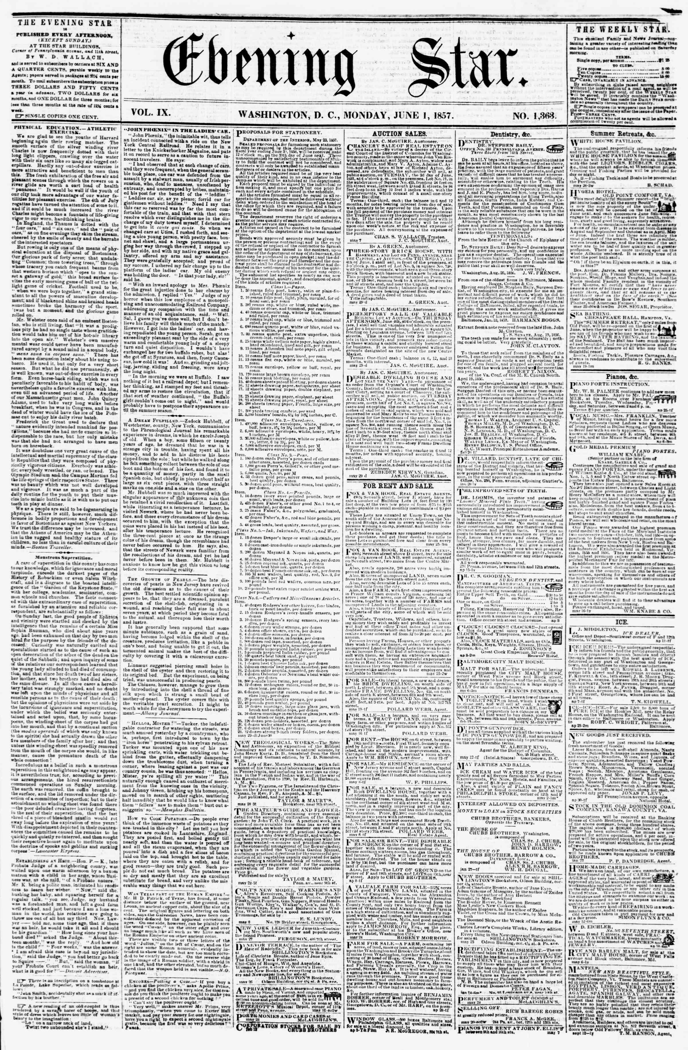 Newspaper of Evening Star dated June 1, 1857 Page 1