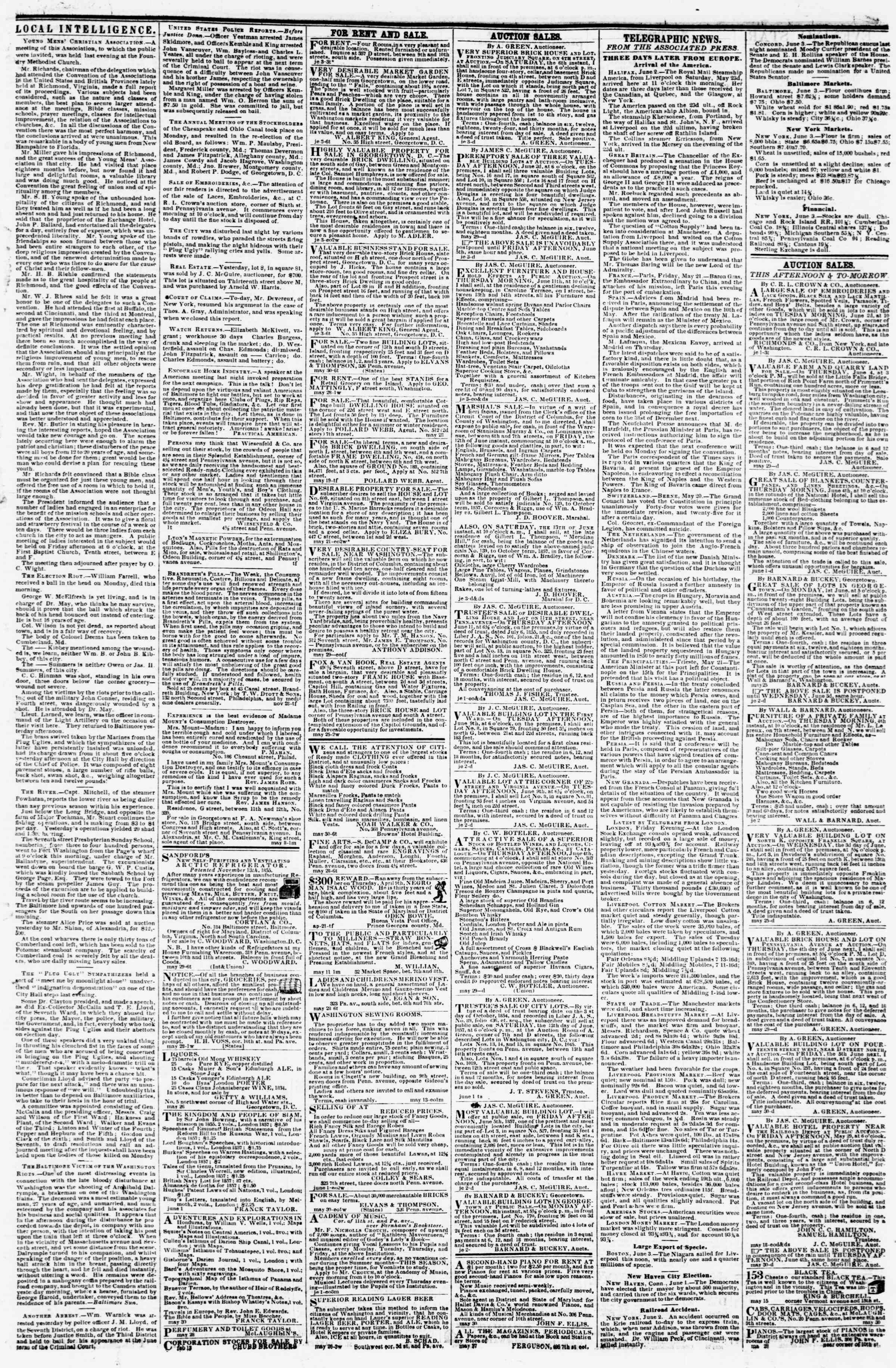 Newspaper of Evening Star dated June 3, 1857 Page 3
