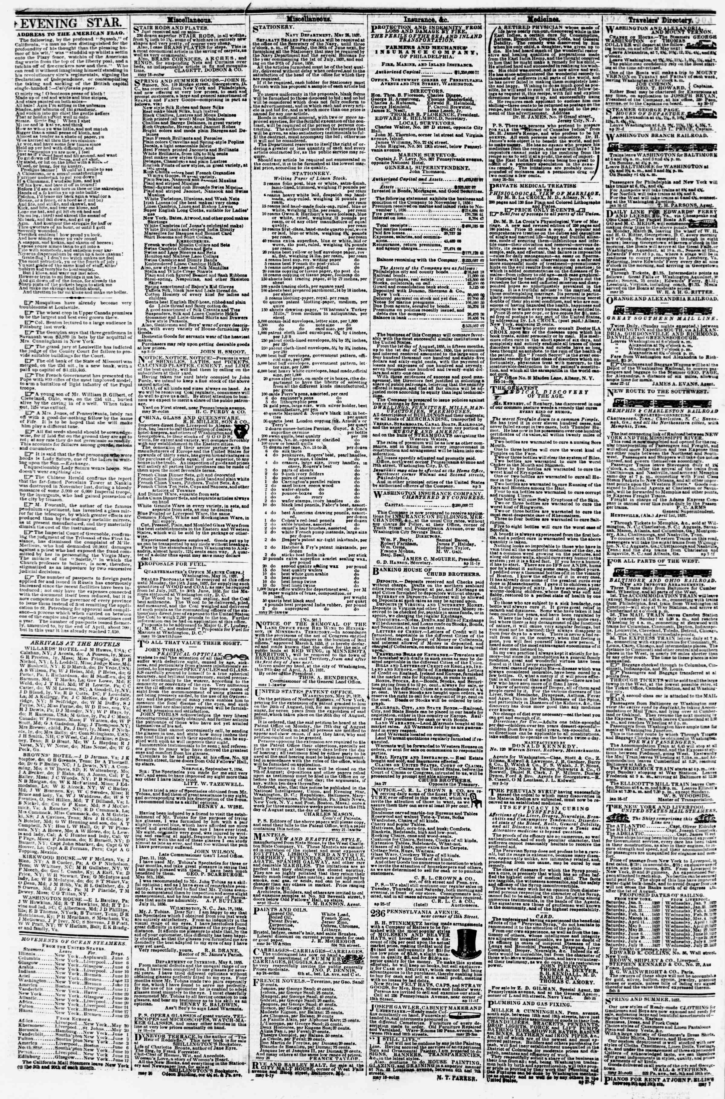 Newspaper of Evening Star dated June 4, 1857 Page 4