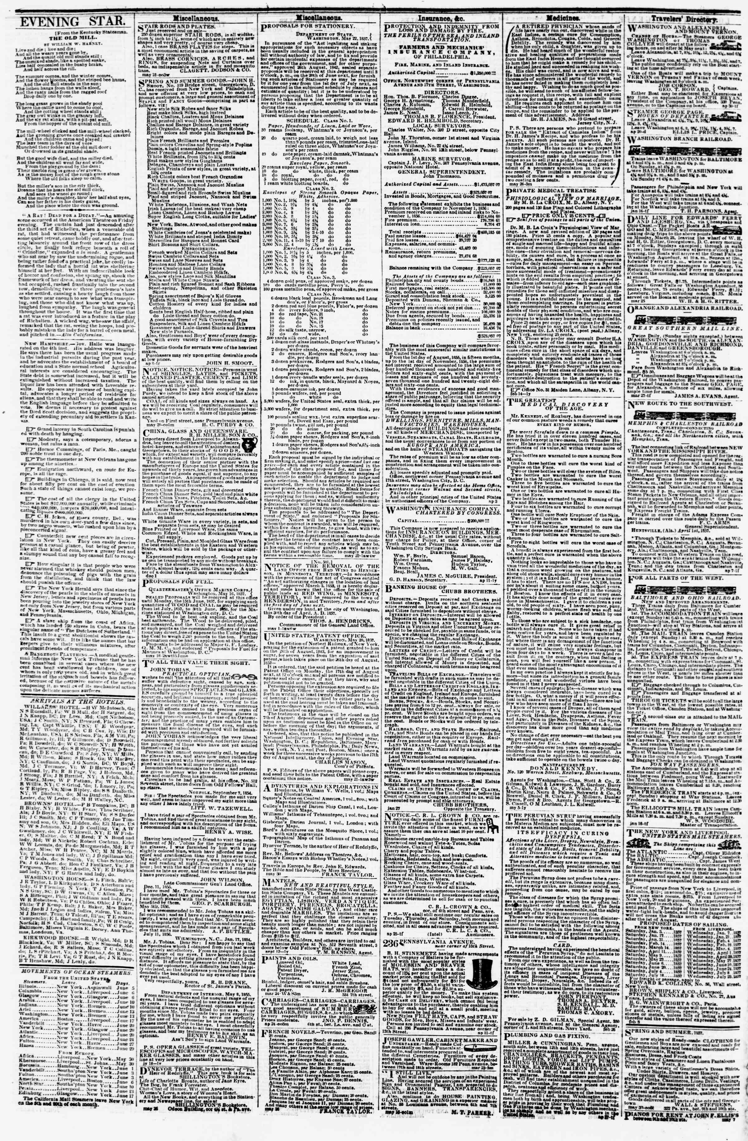 Newspaper of Evening Star dated June 5, 1857 Page 4