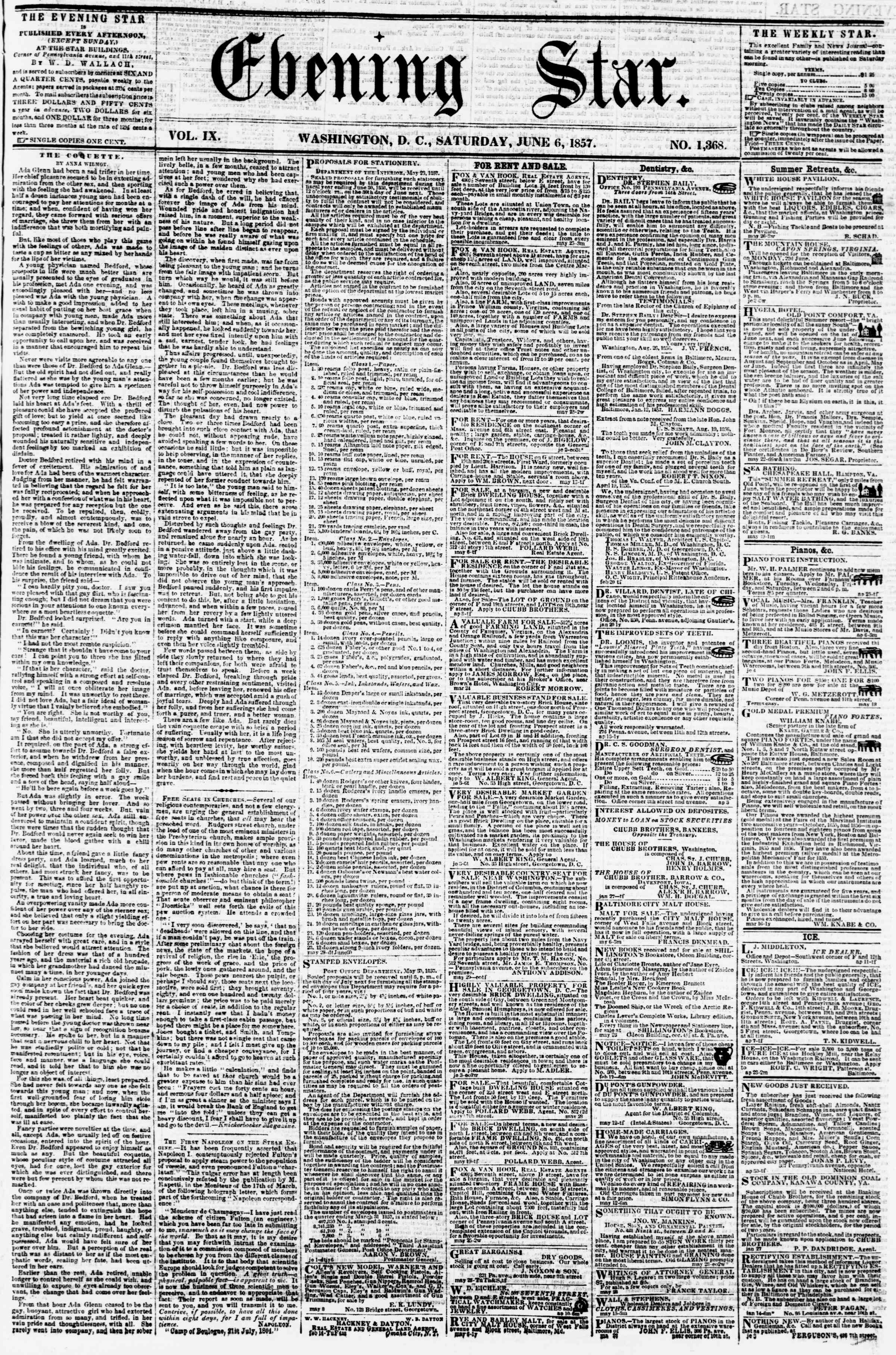 Newspaper of Evening Star dated June 6, 1857 Page 1