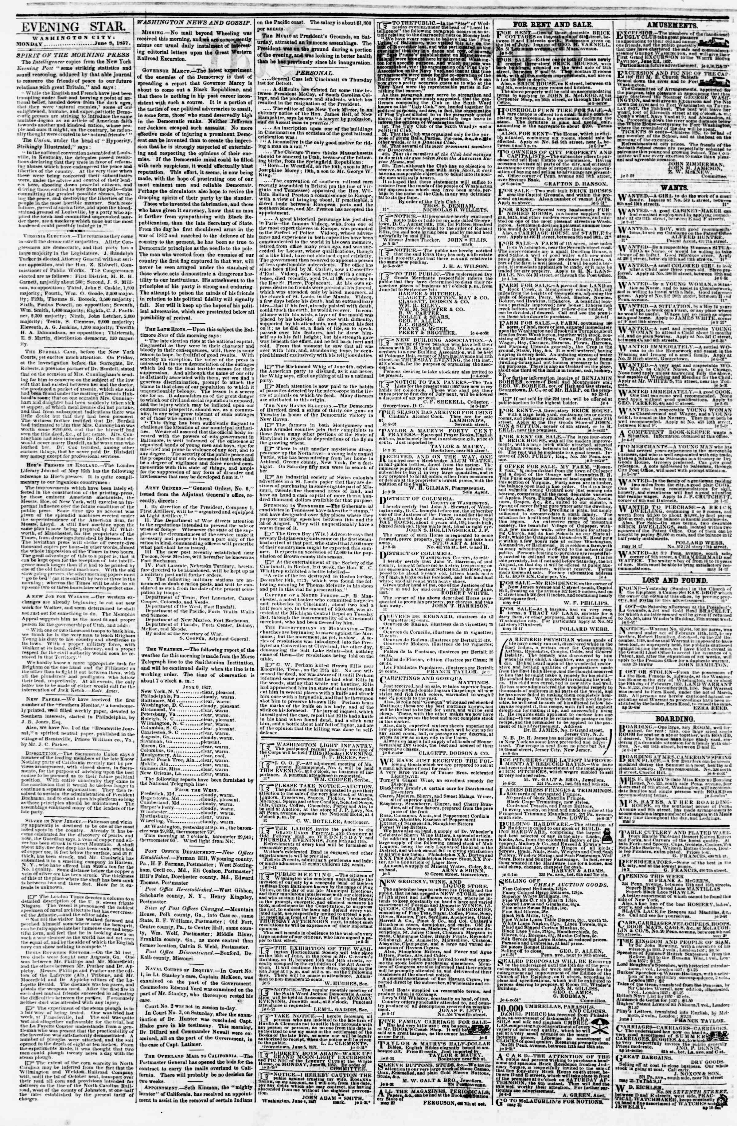 Newspaper of Evening Star dated June 8, 1857 Page 2