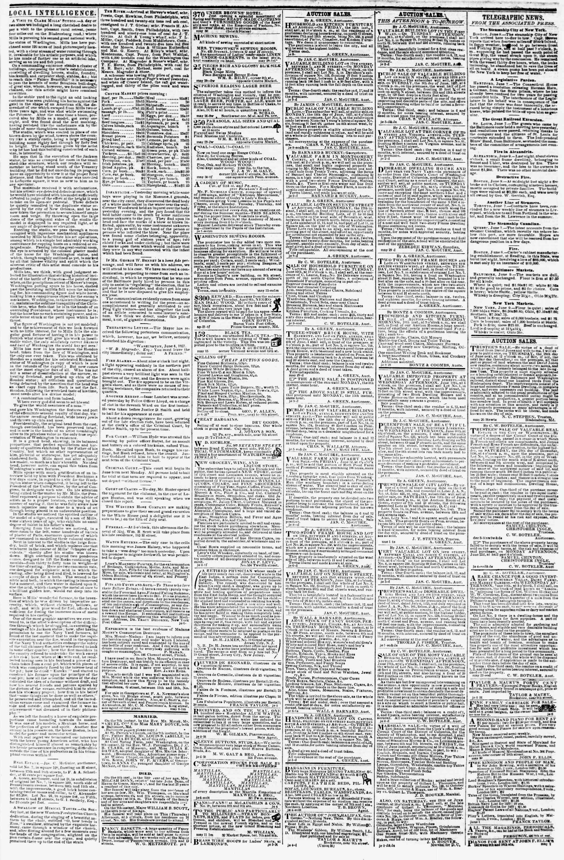 Newspaper of Evening Star dated June 9, 1857 Page 3
