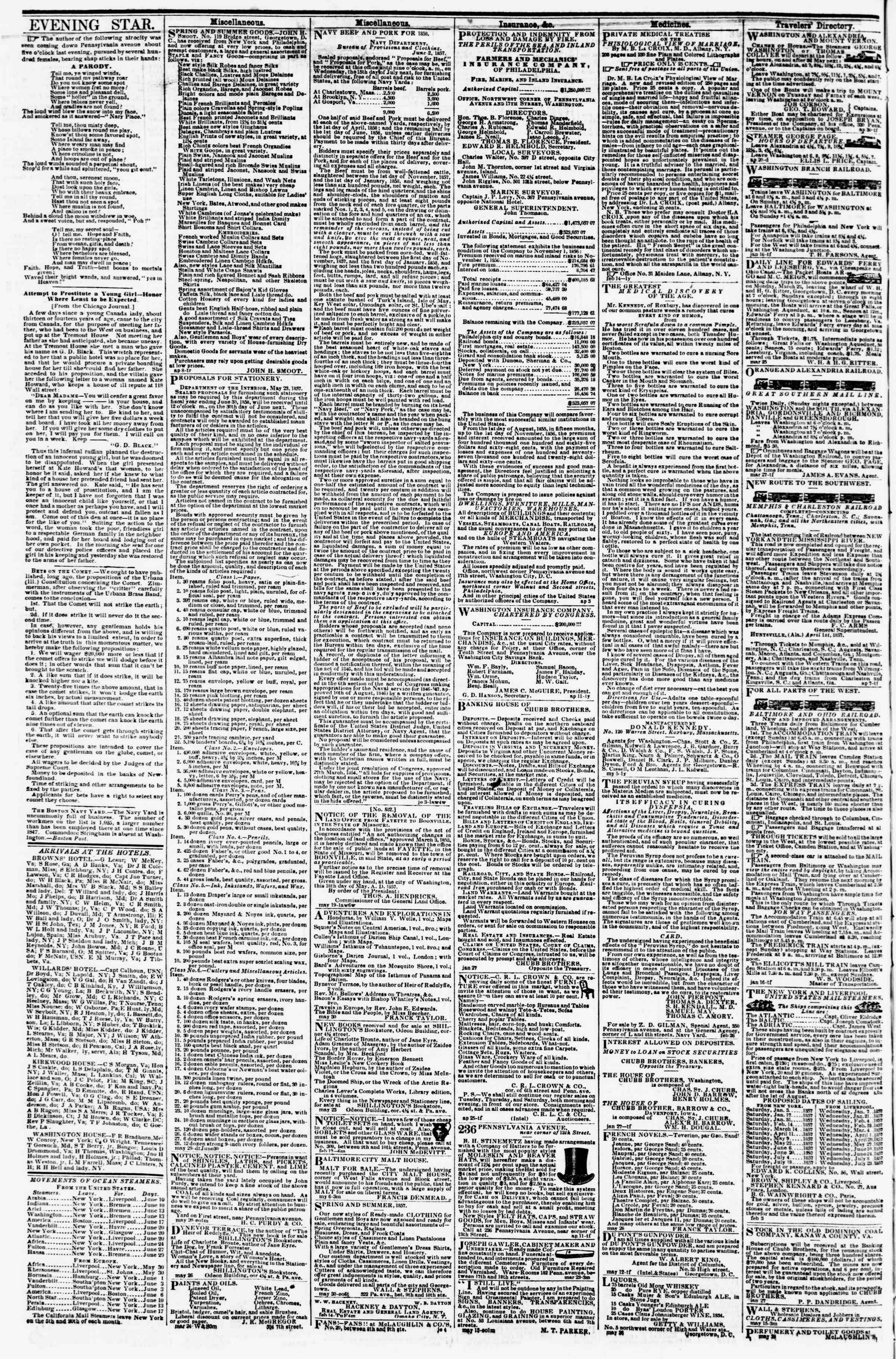 Newspaper of Evening Star dated June 10, 1857 Page 4