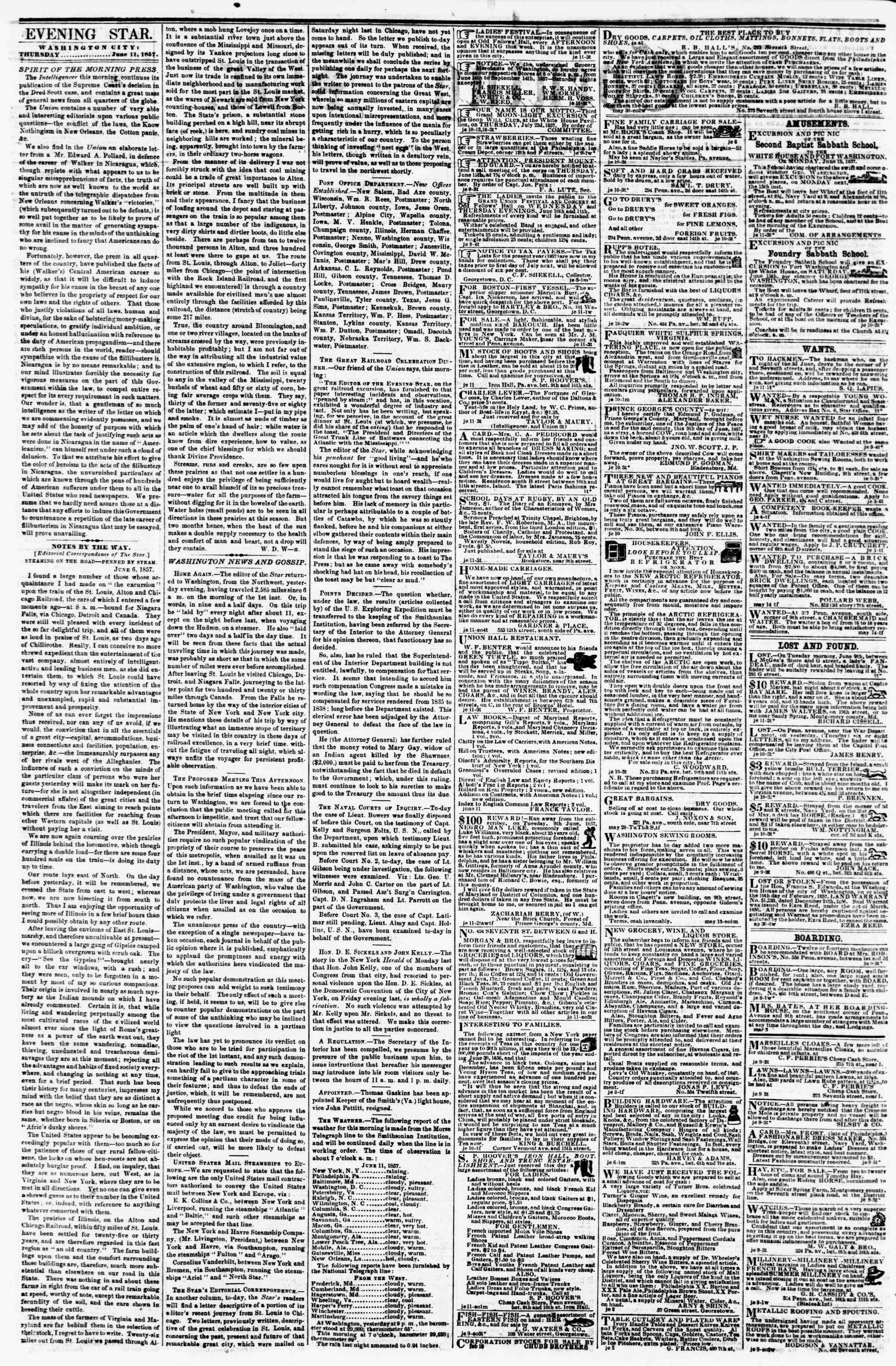 Newspaper of Evening Star dated June 11, 1857 Page 2