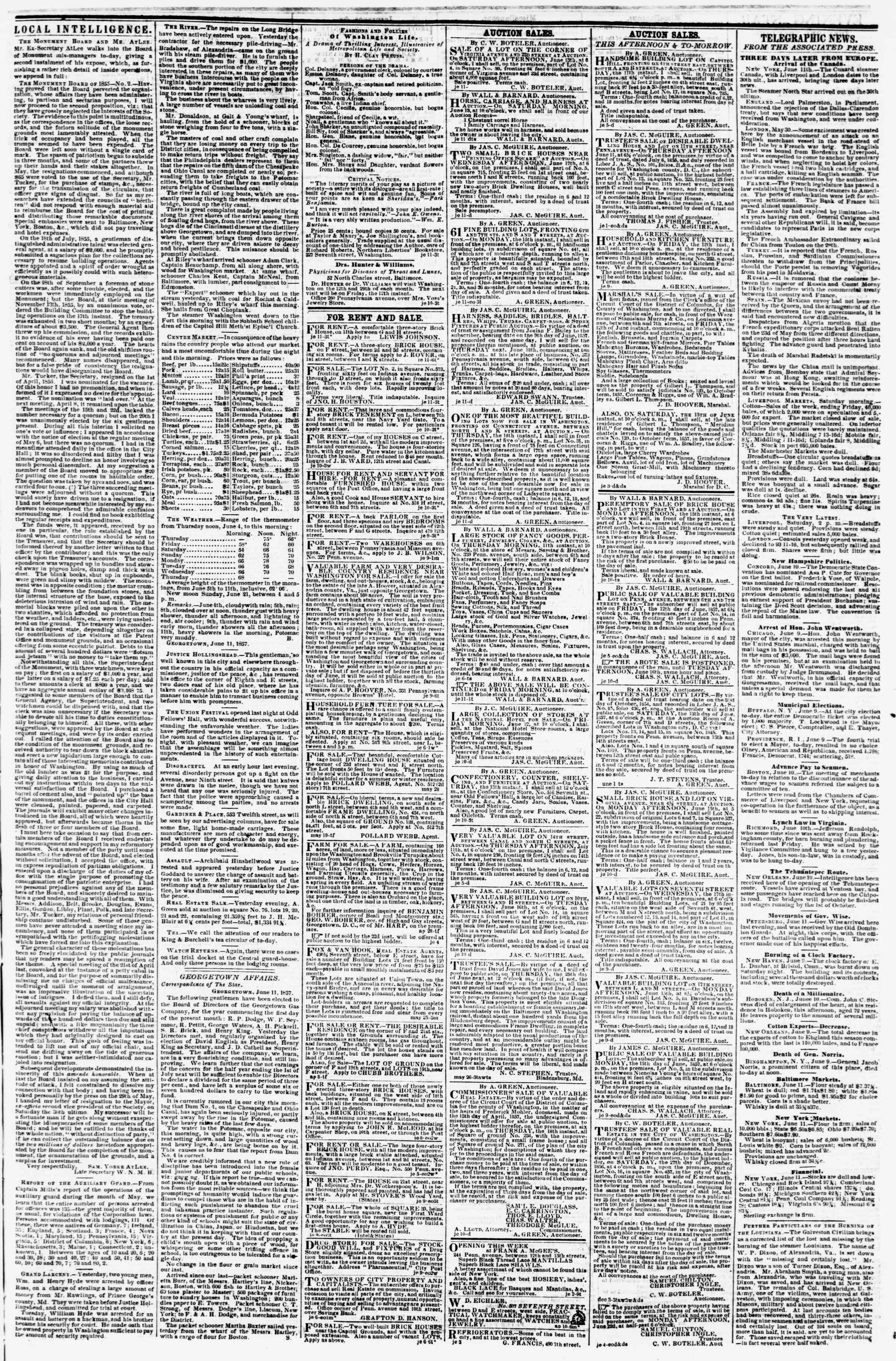 Newspaper of Evening Star dated June 11, 1857 Page 3