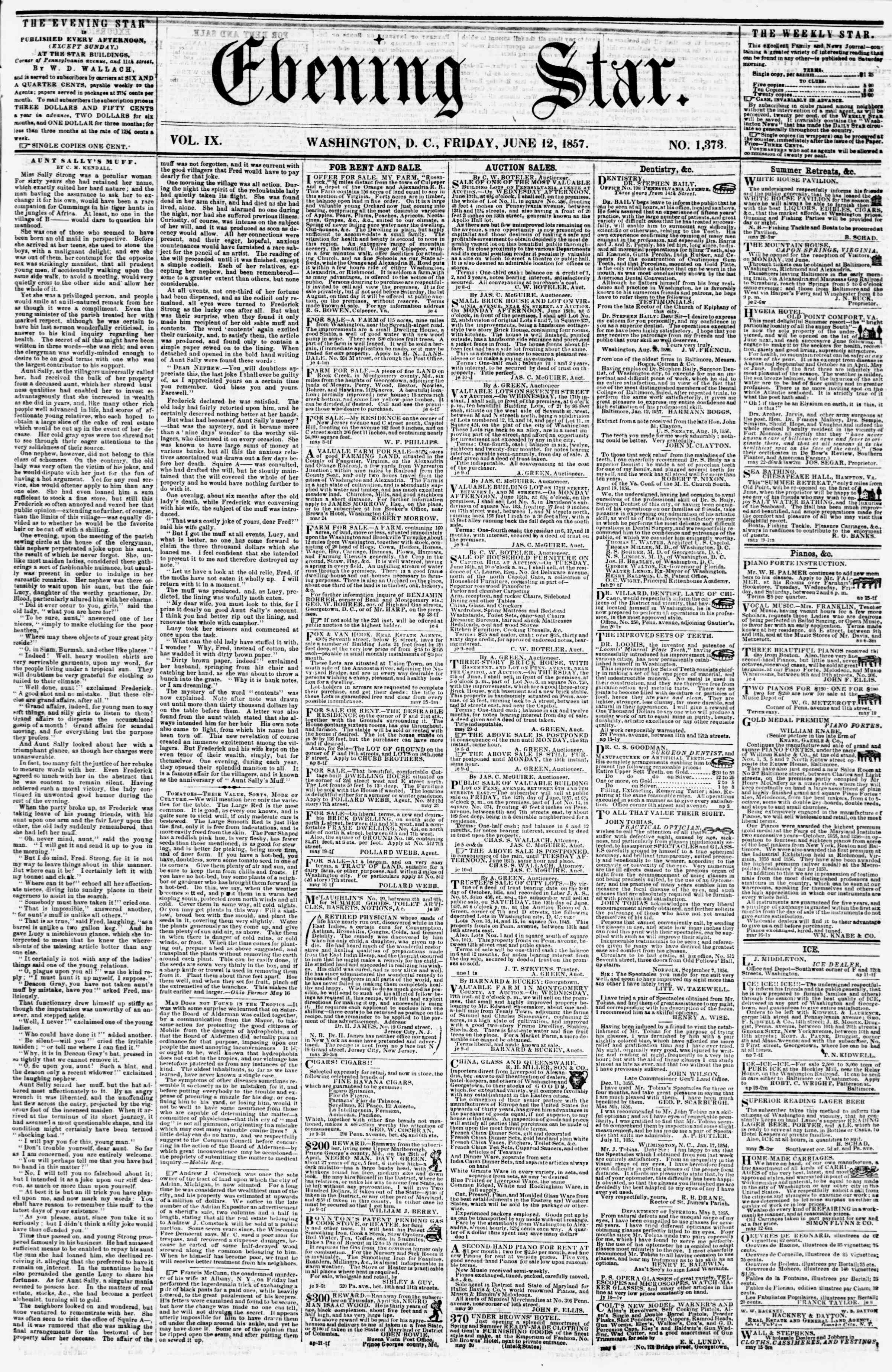 Newspaper of Evening Star dated June 12, 1857 Page 1