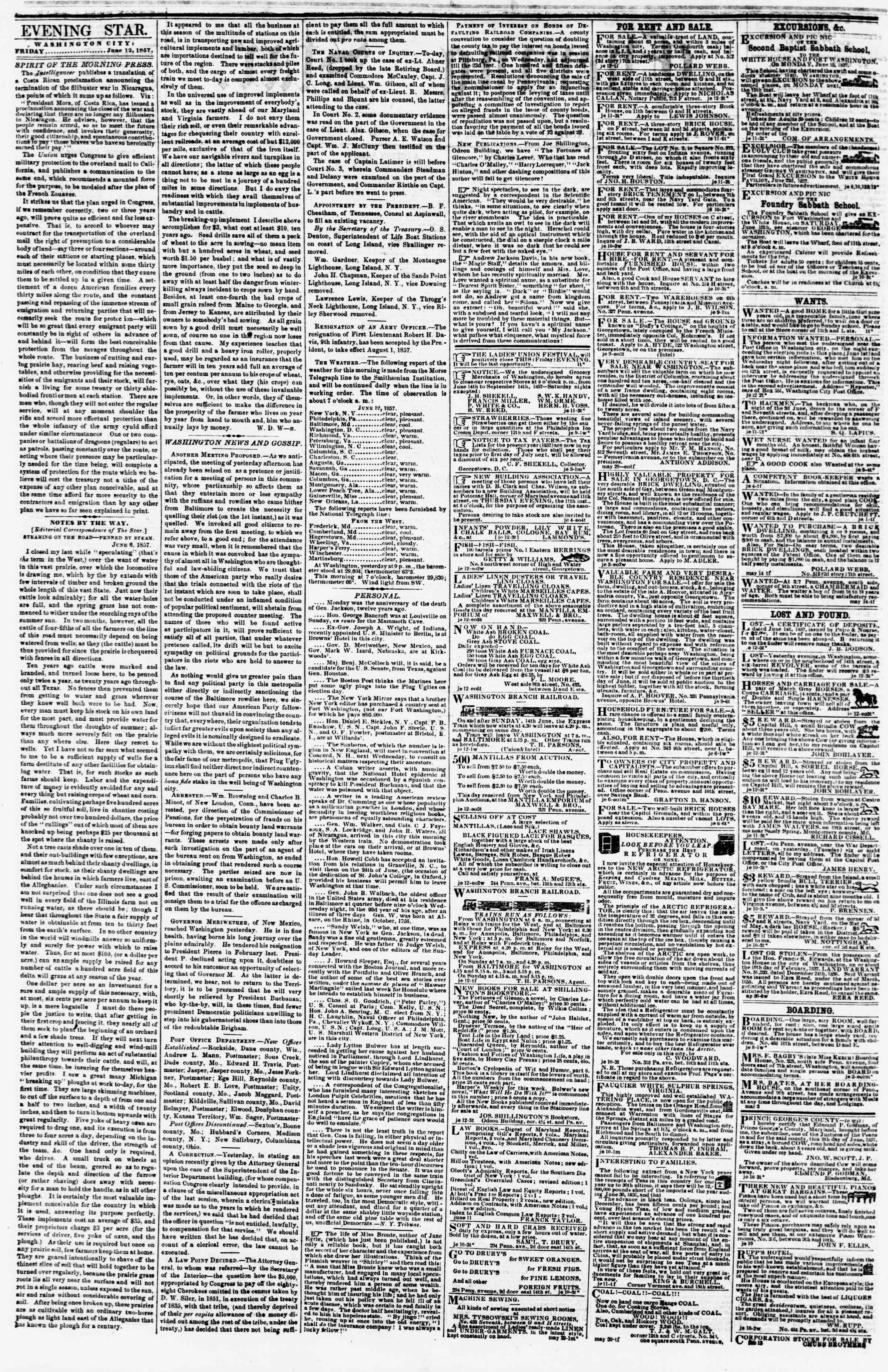 Newspaper of Evening Star dated June 12, 1857 Page 2