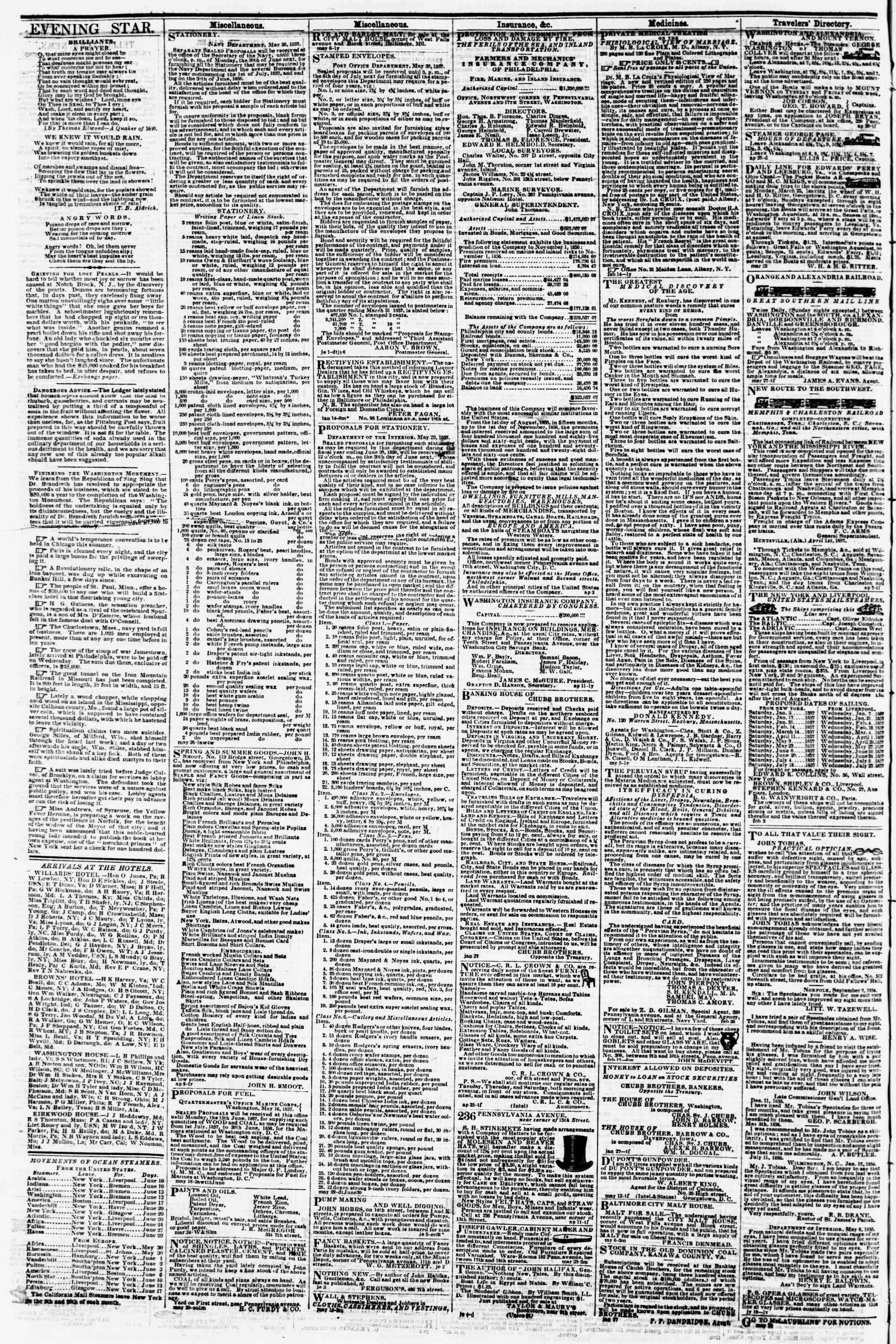 13 Haziran 1857 tarihli Evening Star Gazetesi Sayfa 4