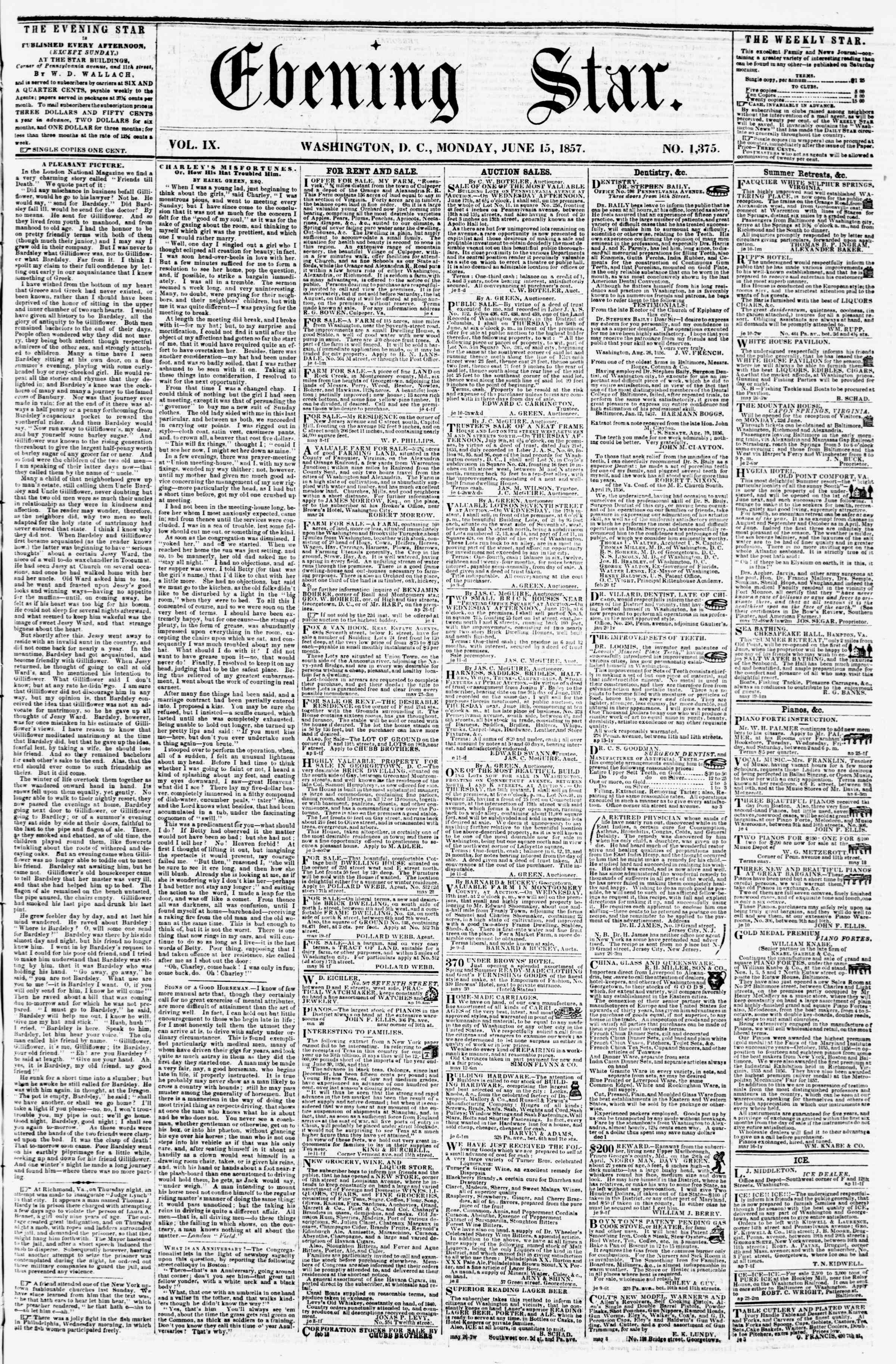 Newspaper of Evening Star dated June 15, 1857 Page 1