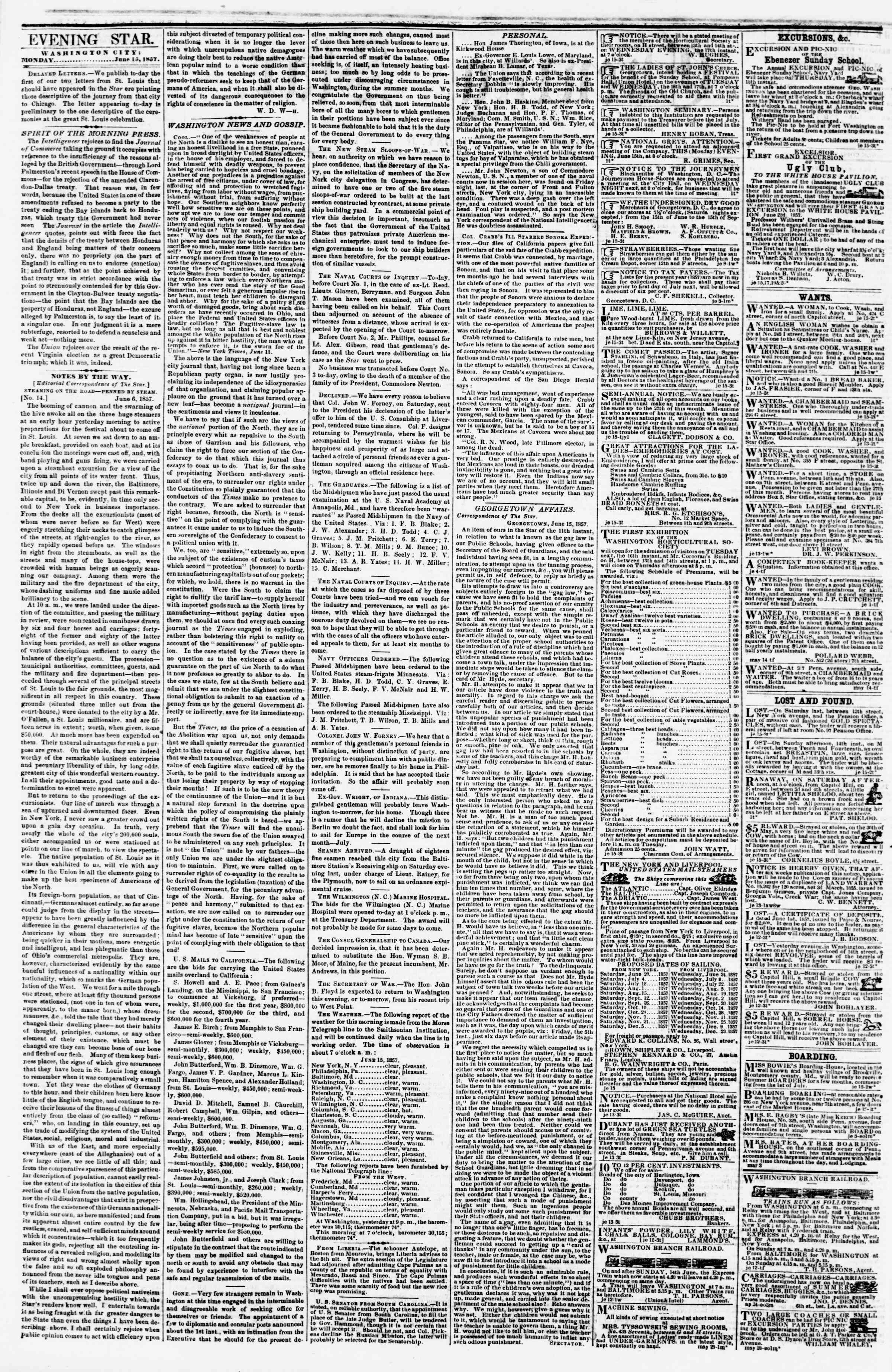 Newspaper of Evening Star dated June 15, 1857 Page 2