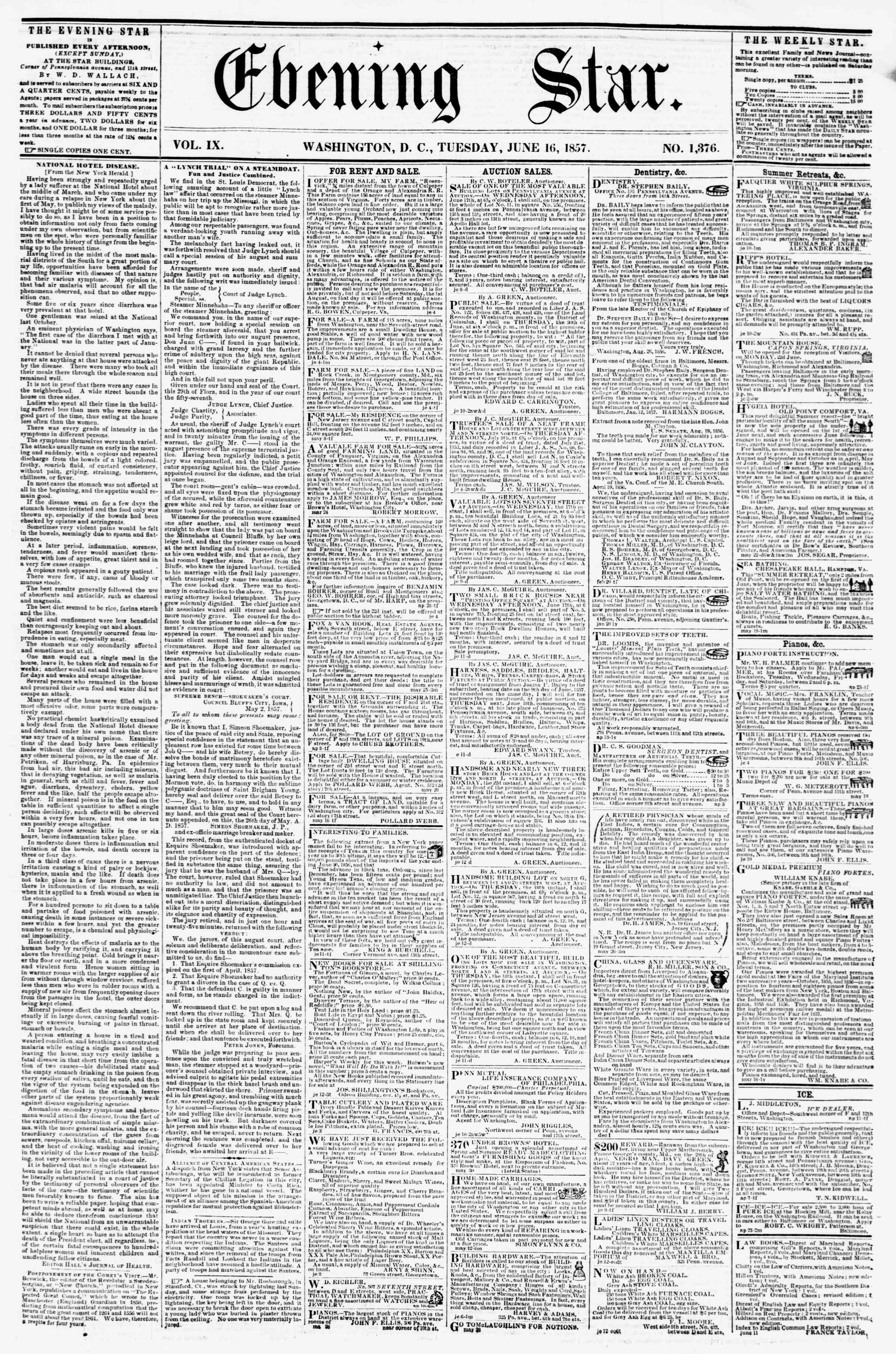 Newspaper of Evening Star dated June 16, 1857 Page 1