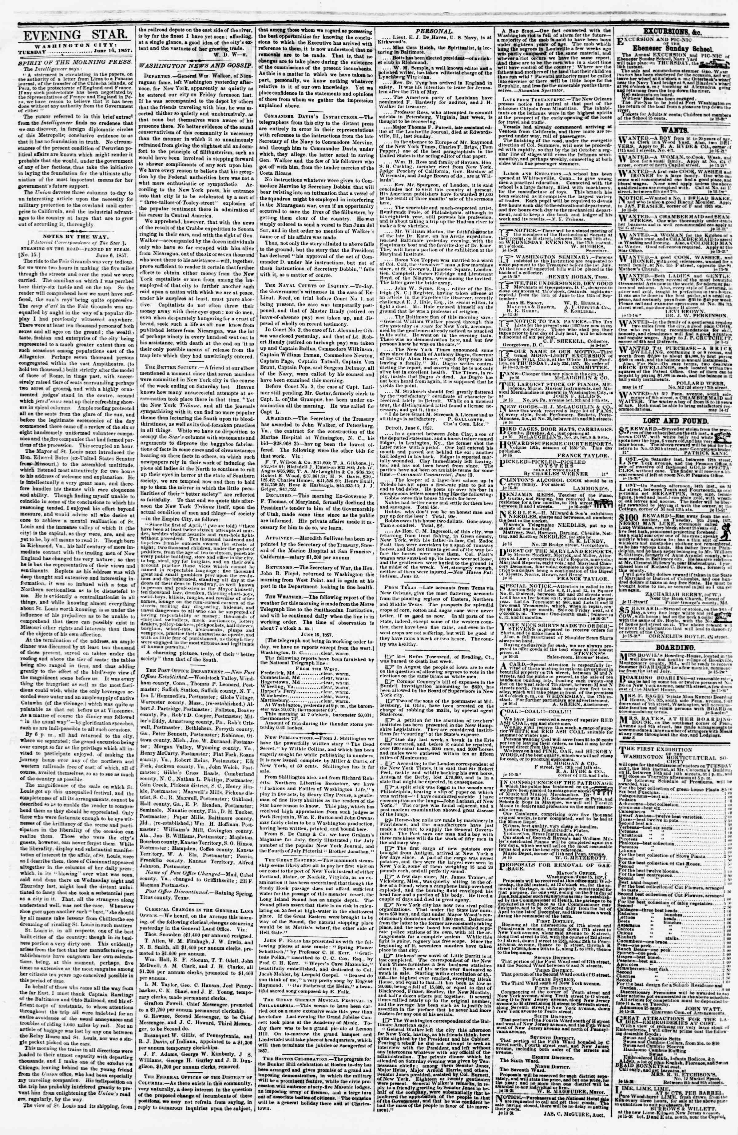 Newspaper of Evening Star dated June 16, 1857 Page 2