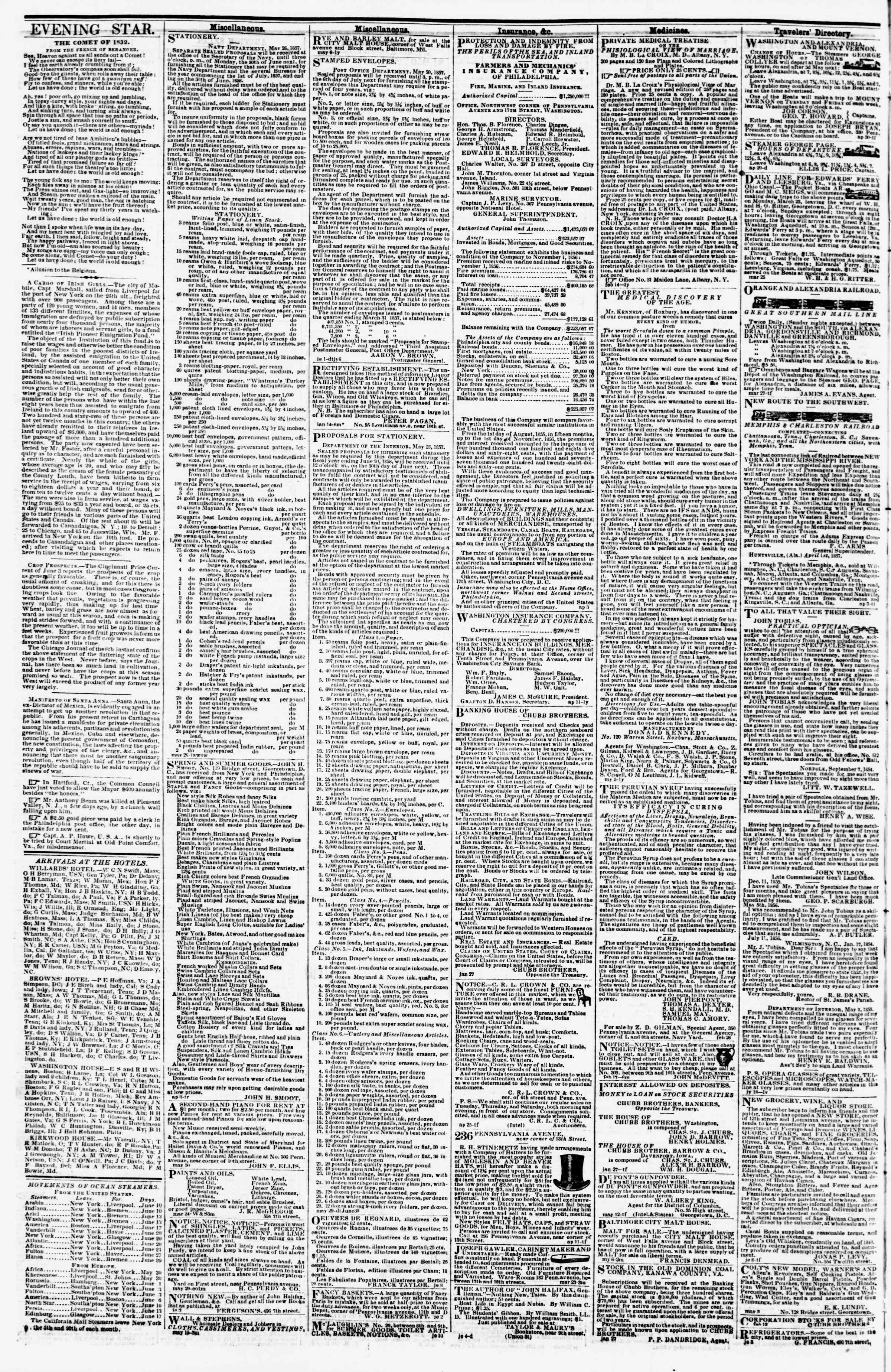 Newspaper of Evening Star dated June 16, 1857 Page 4