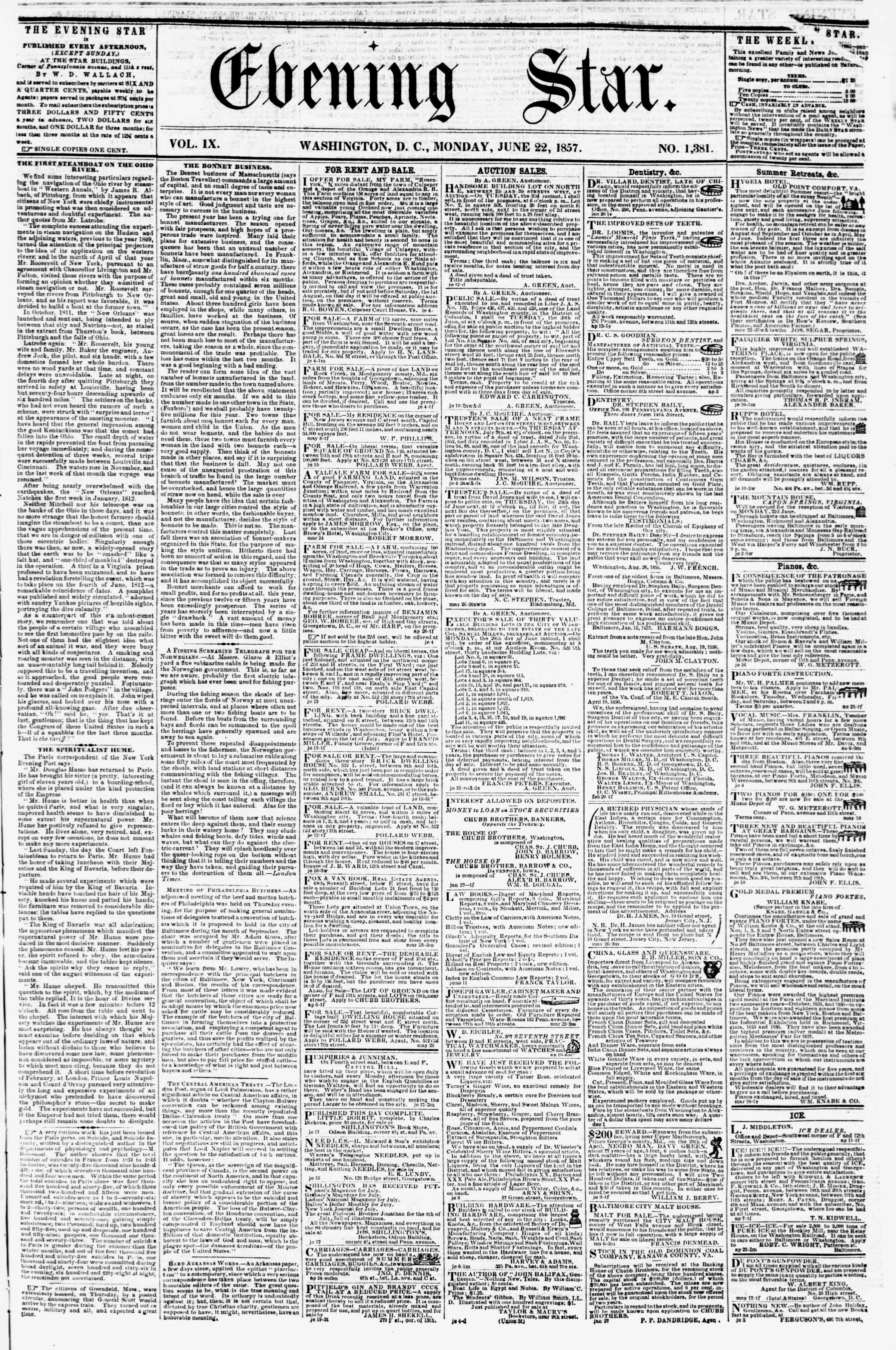 Newspaper of Evening Star dated June 22, 1857 Page 1