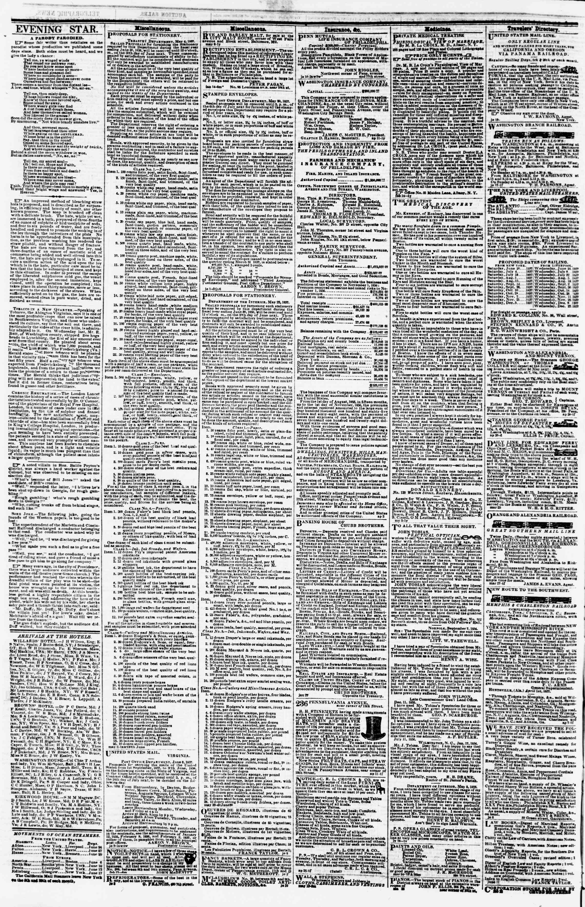 Newspaper of Evening Star dated June 23, 1857 Page 4