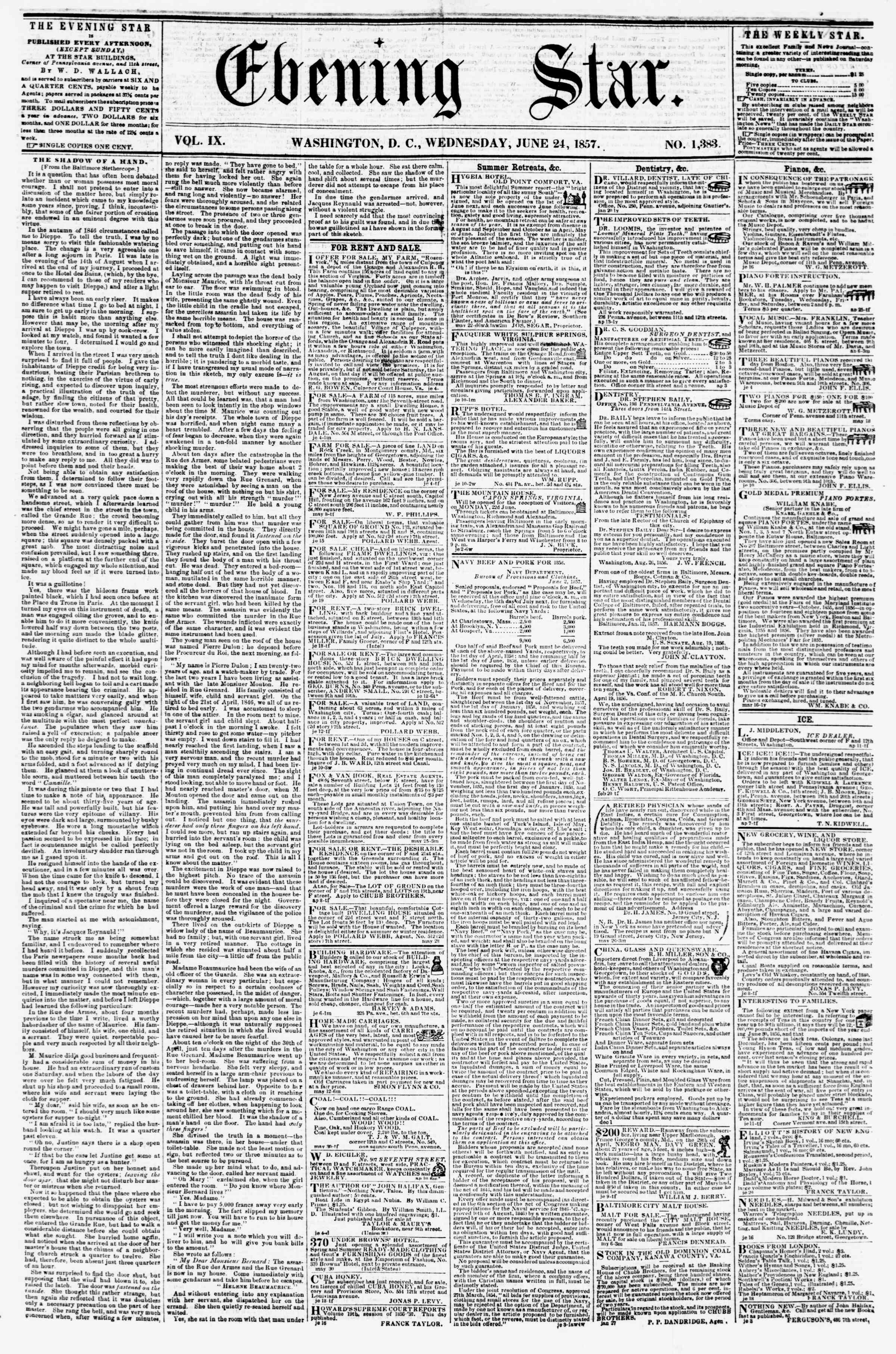 Newspaper of Evening Star dated June 24, 1857 Page 1