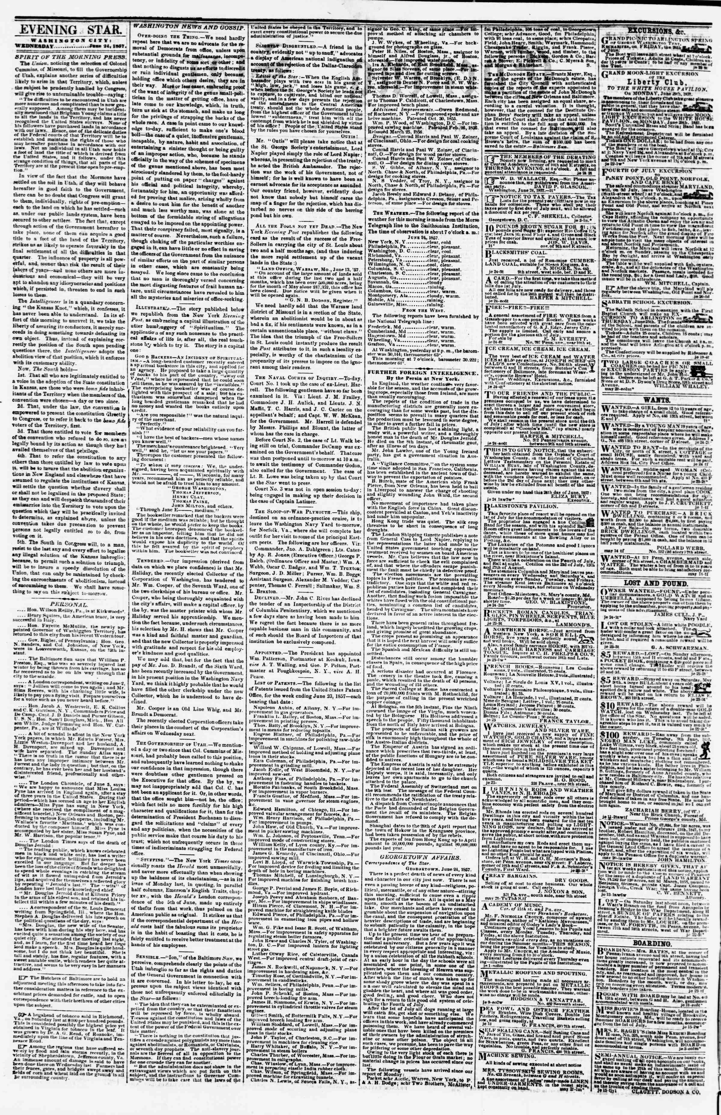 Newspaper of Evening Star dated June 24, 1857 Page 2